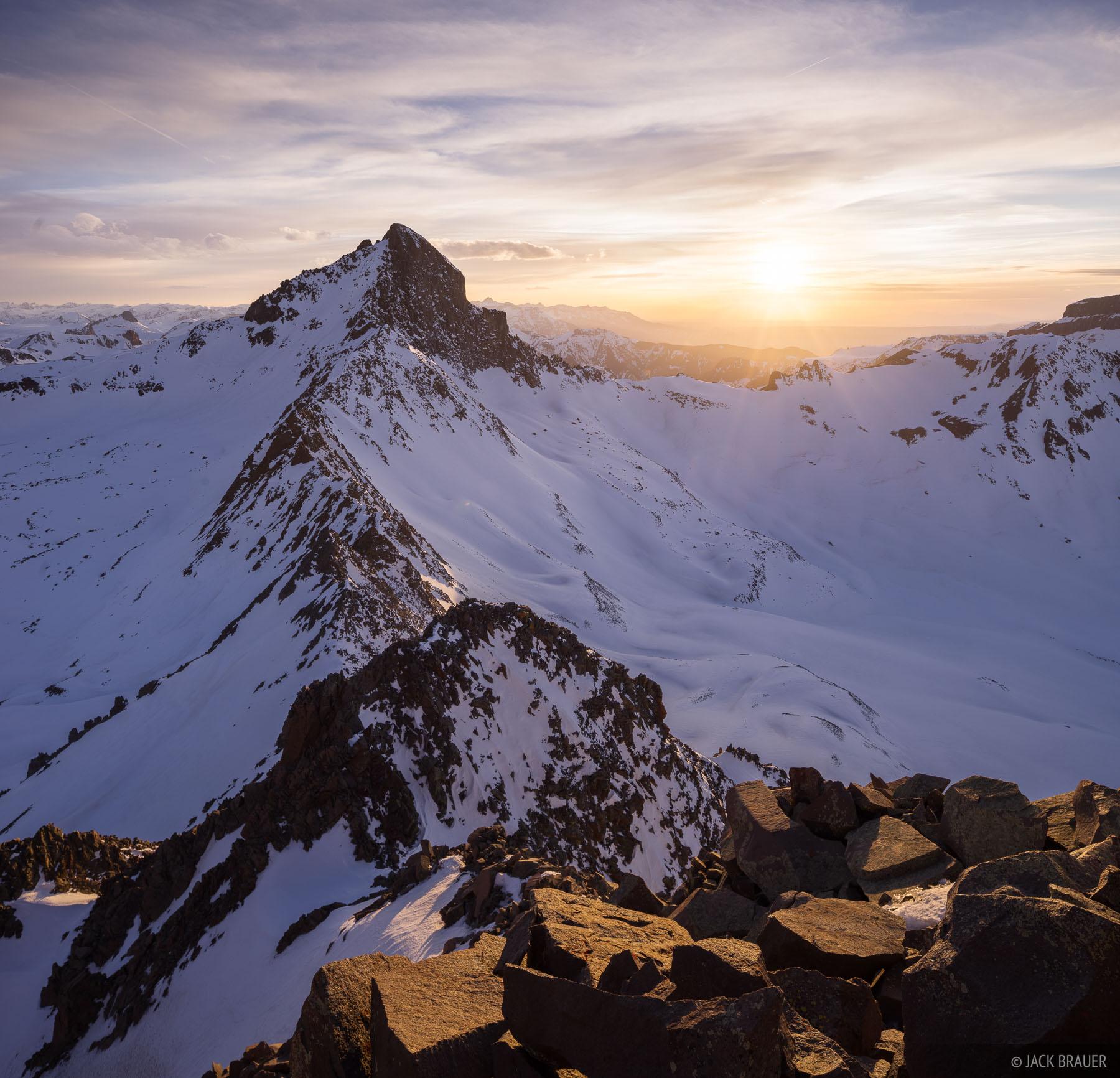 Colorado,San Juan Mountains,Uncompahgre Wilderness,Wetterhorn Peak, sunset, photo