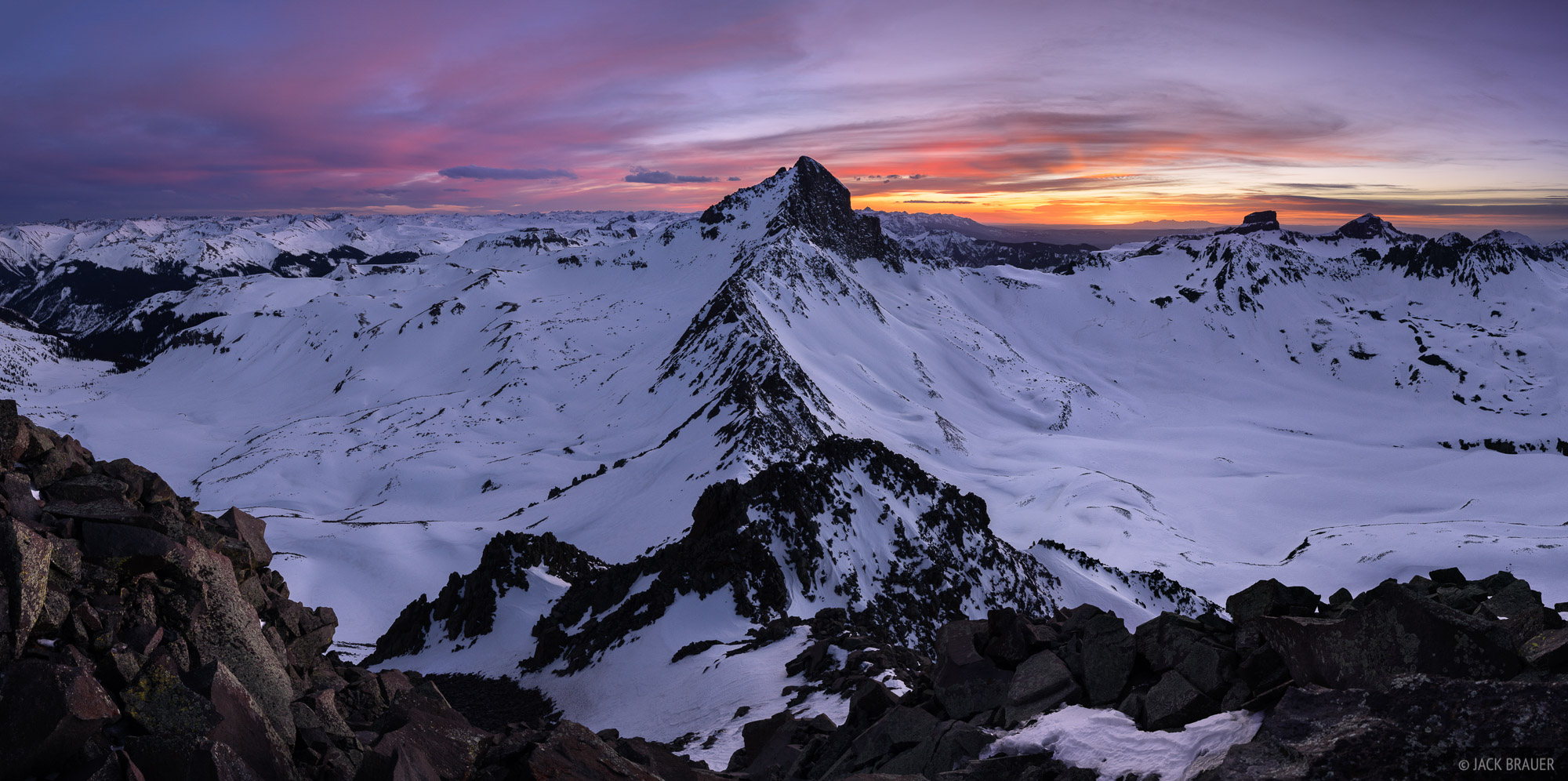 Colorado,San Juan Mountains,Uncompahgre Wilderness,Wetterhorn Peak, sunset, panorama, photo