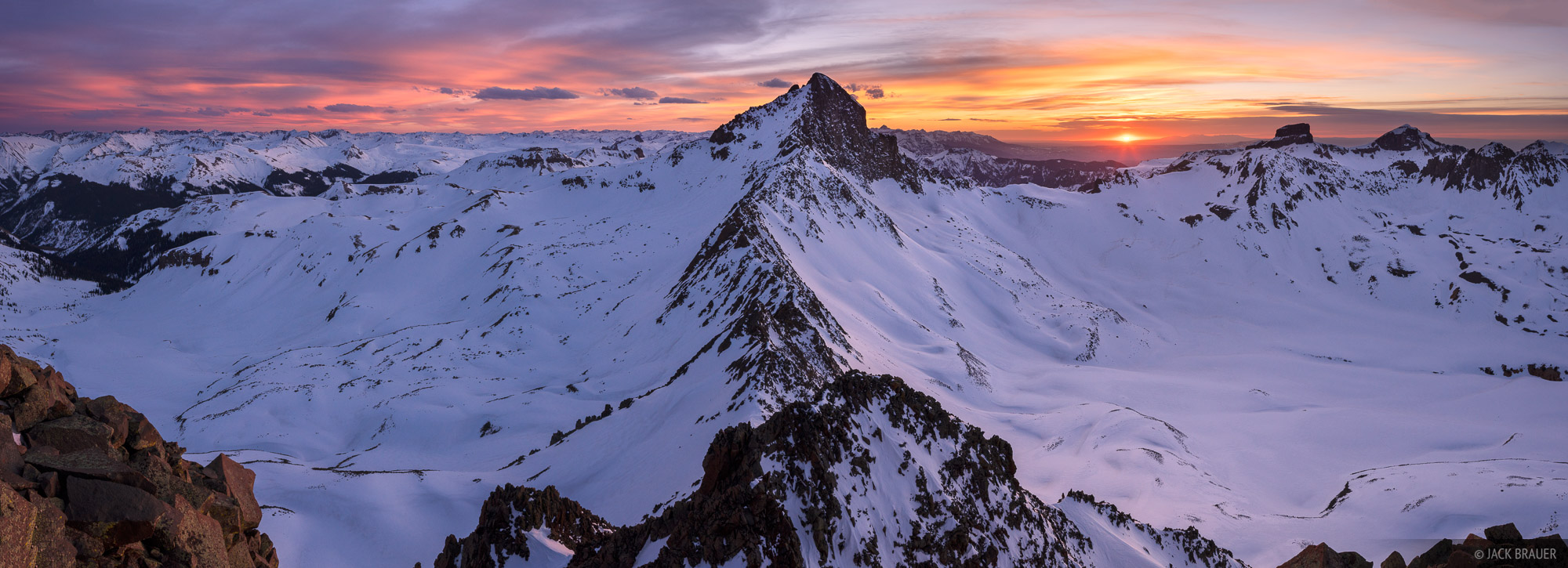 Colorado, San Juan Mountains, Uncompahgre Wilderness, Wetterhorn Peak, Matterhorn Peak, panorama, sunset, photo