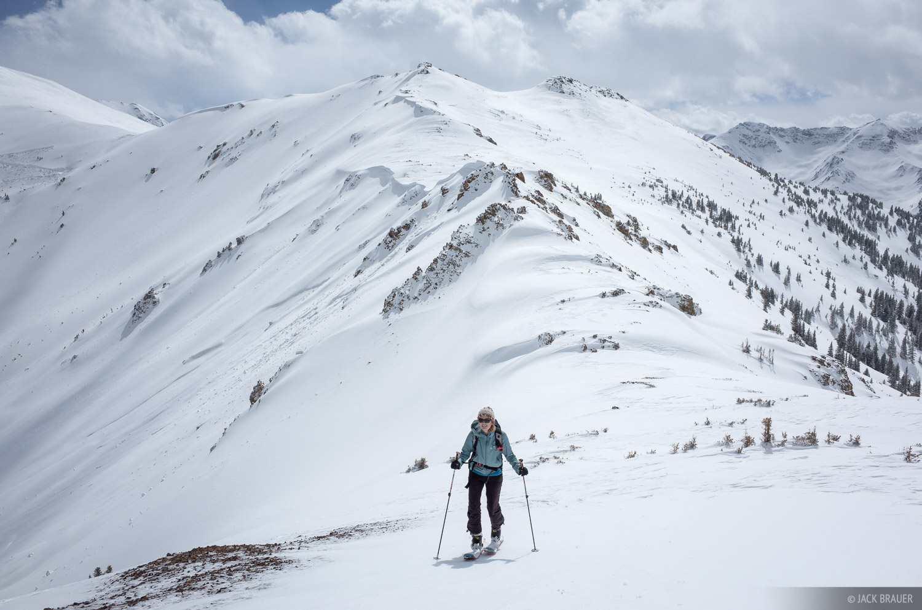 Skinning along a windy ridge on a wintery May day.