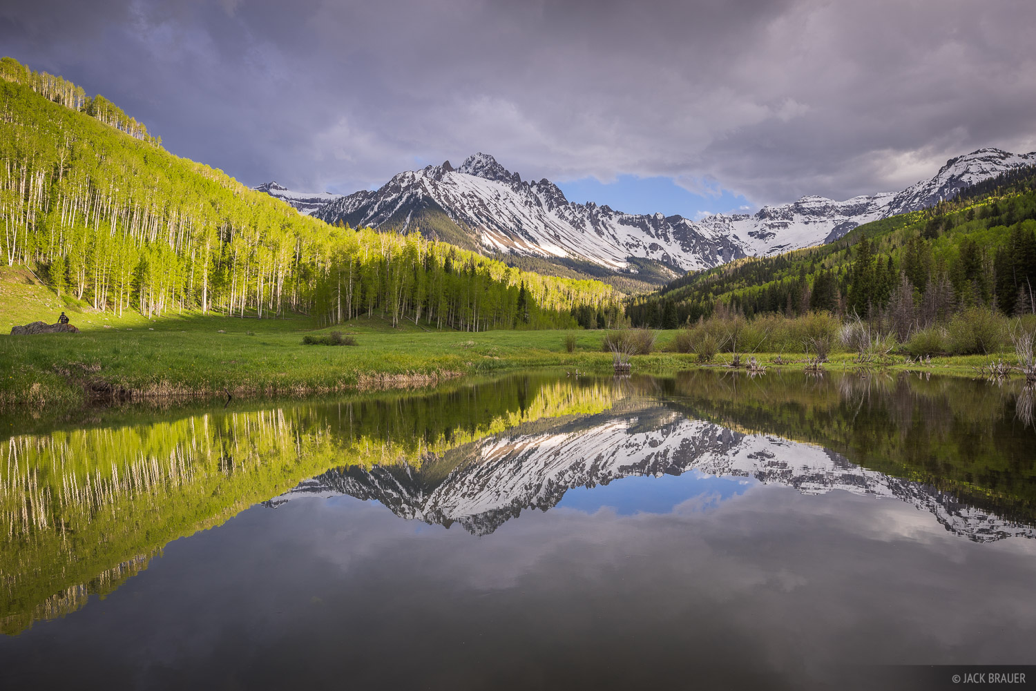 Colorado,Mt. Sneffels,San Juan Mountains,Sneffels Range, aspens, June, green, photo