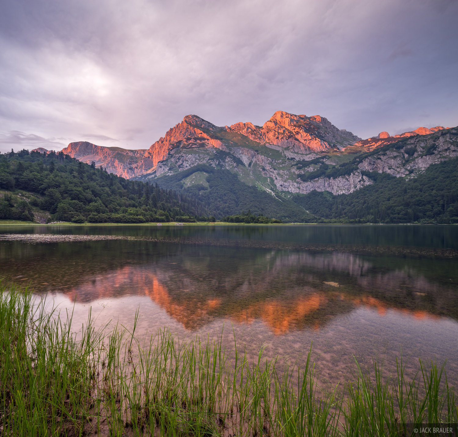 Sunset light on Maglic and nearby mountains, as seen at Trnovacko Lake, in Montenegro just across the border from Bosnia.