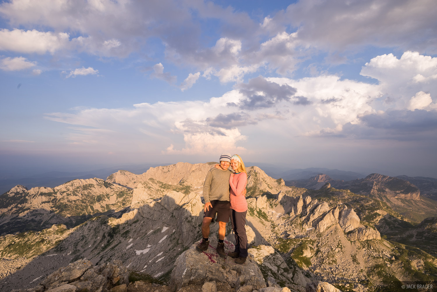 Jack and Claudia on the summit of Bobotov Kuk (2522 m / 8274 ft), the highest mountain in the Durmitor range of Montenegro.