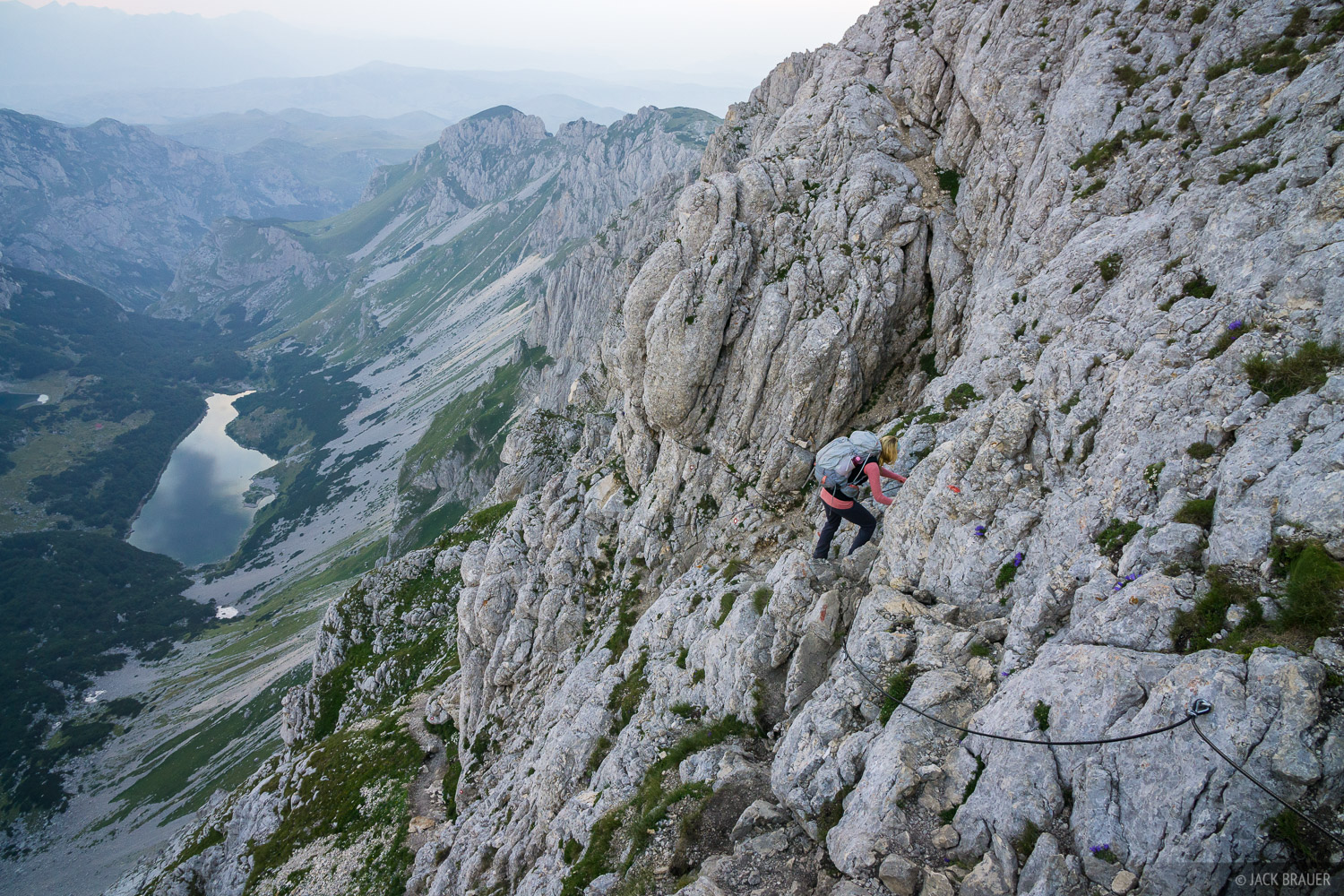 Climbing to the summit of Bobotov Kuk via the scrambly cabled route.