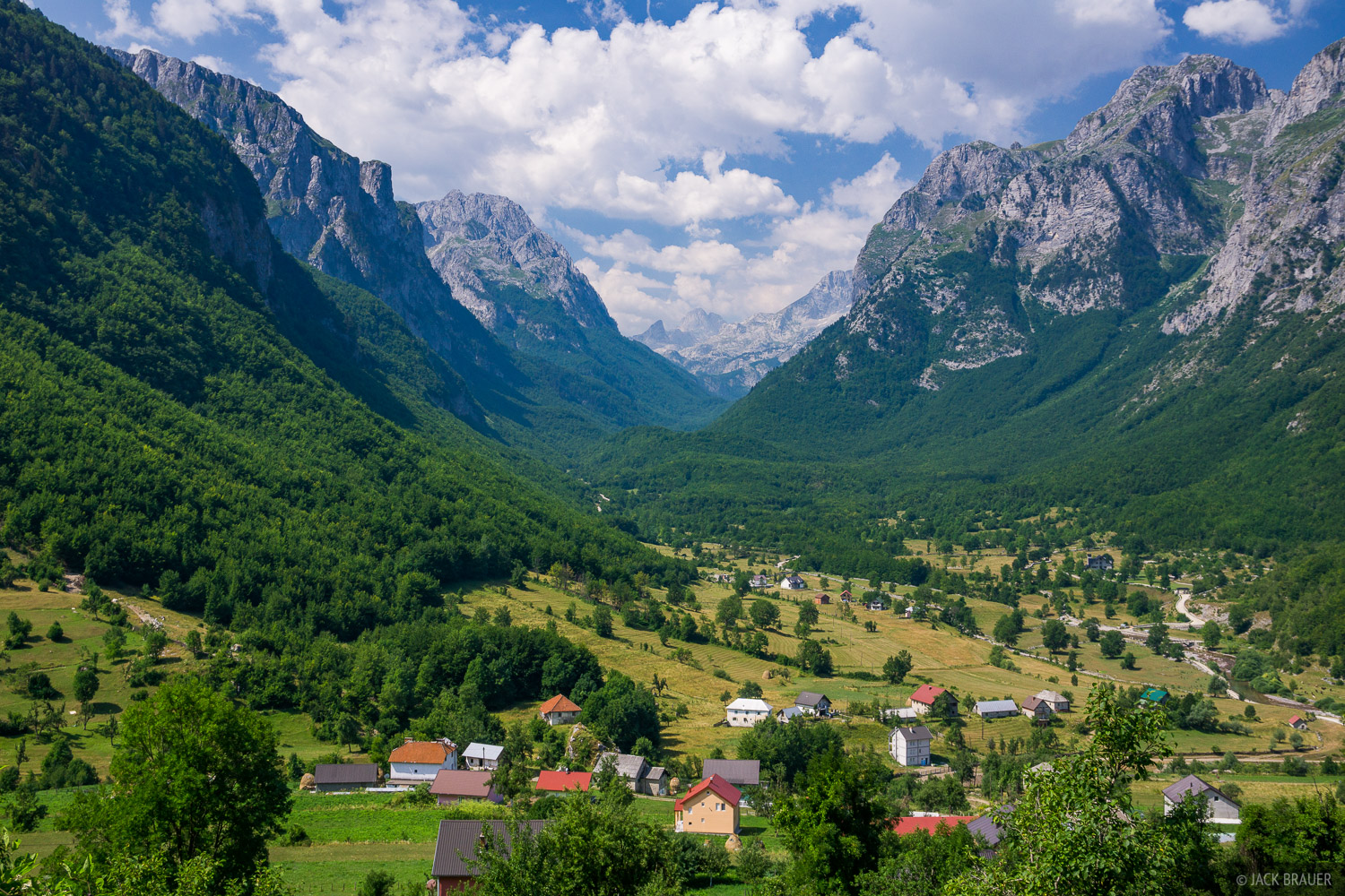The village of Vusanje in the spectacular Ropojana Valley near Gusinje, Montenegro.