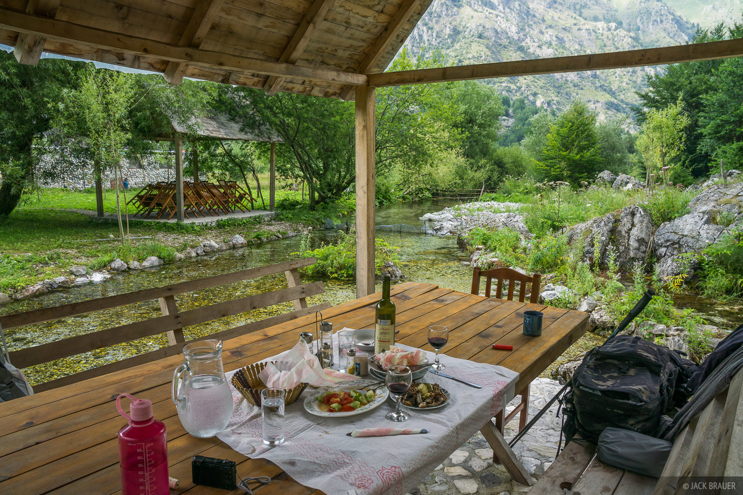 Remnants of a feast in Valbona, Albania.