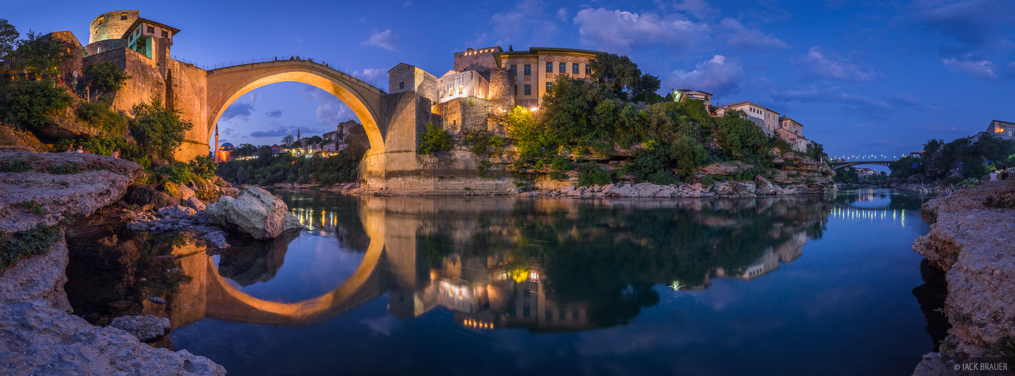 Stari Most, bridge, Mostar, Bosnia, Herzegovina, Neretva, river, reflection
