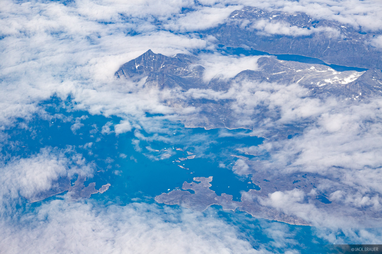 The islands, bays, and inlets around Jakraviyk, along the southwest coast of Greenland.