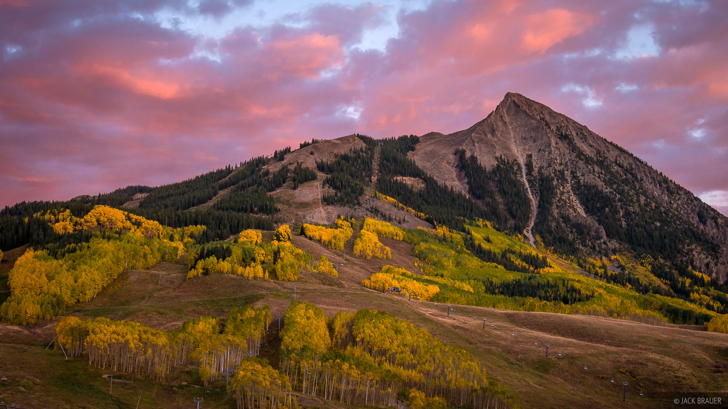 A colorful autumn sunset over Mt. Crested Butte - September.