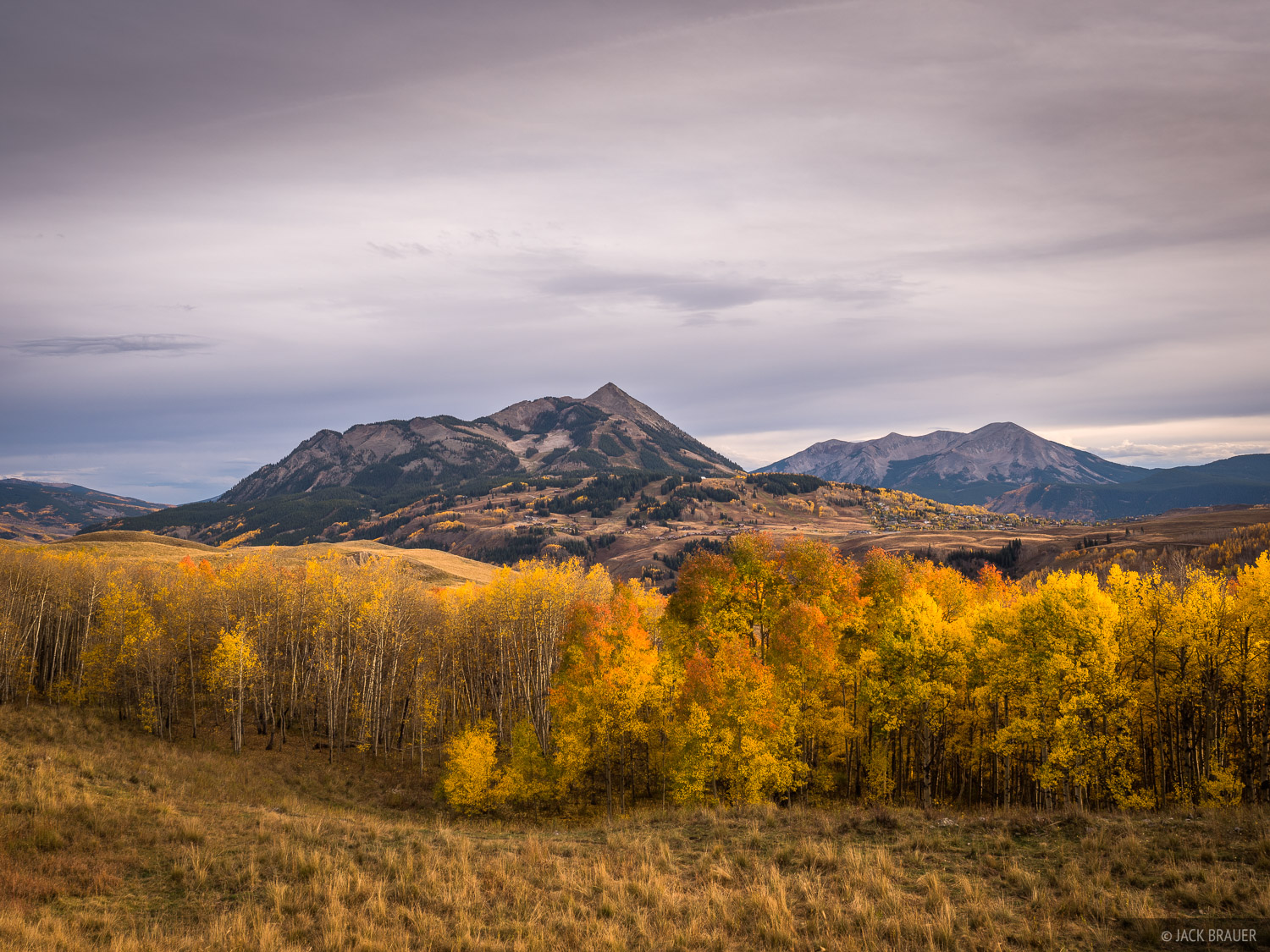 Mt. Crested Butte and colorful aspens in late September.