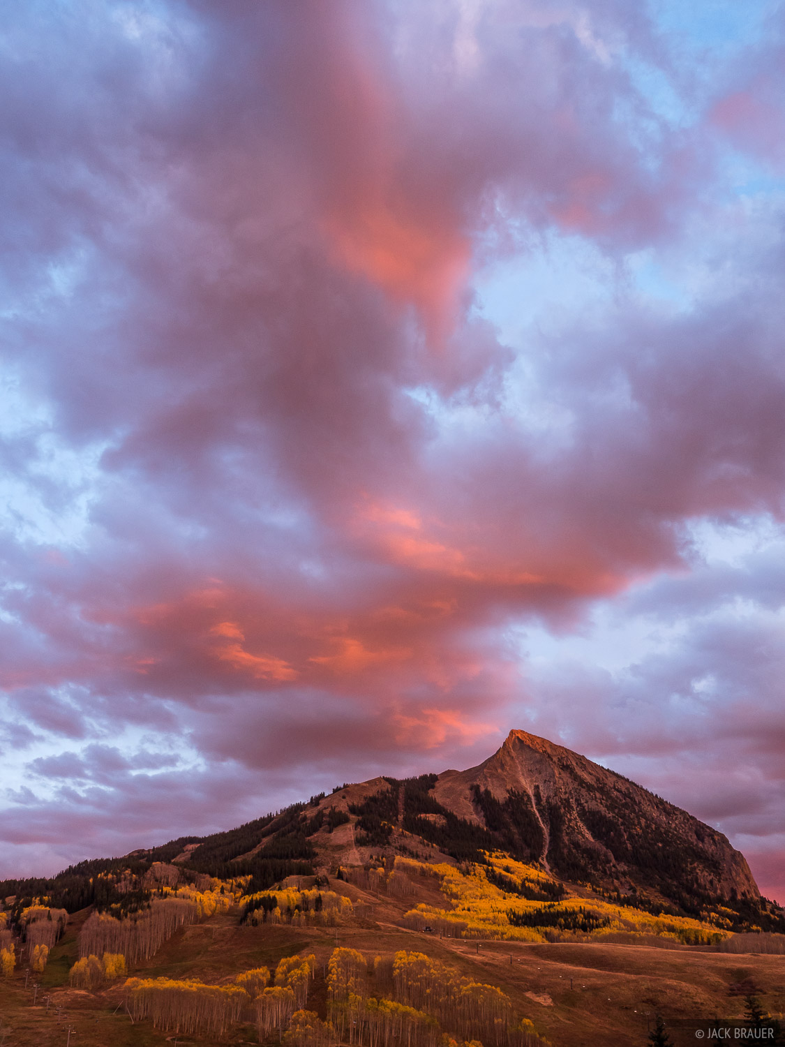 A colorful sunset above Mt. Crested Butte - October.
