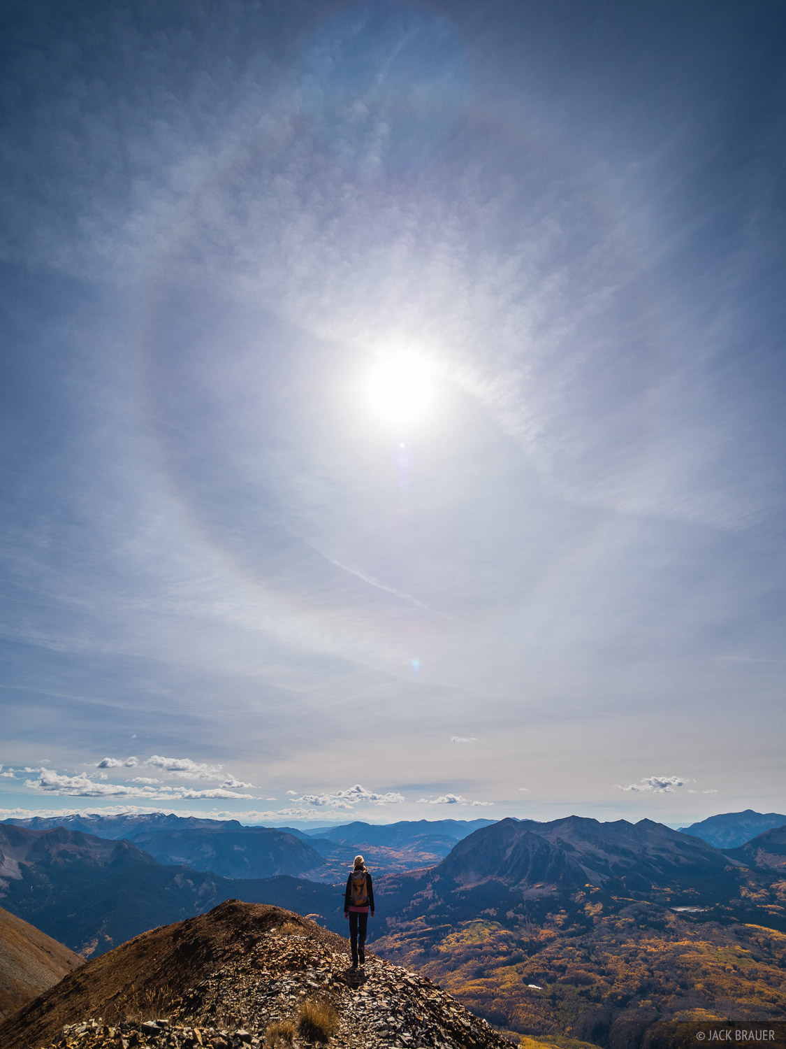 Hiking along the south ridge of Mt. Owen with a sun halo above.