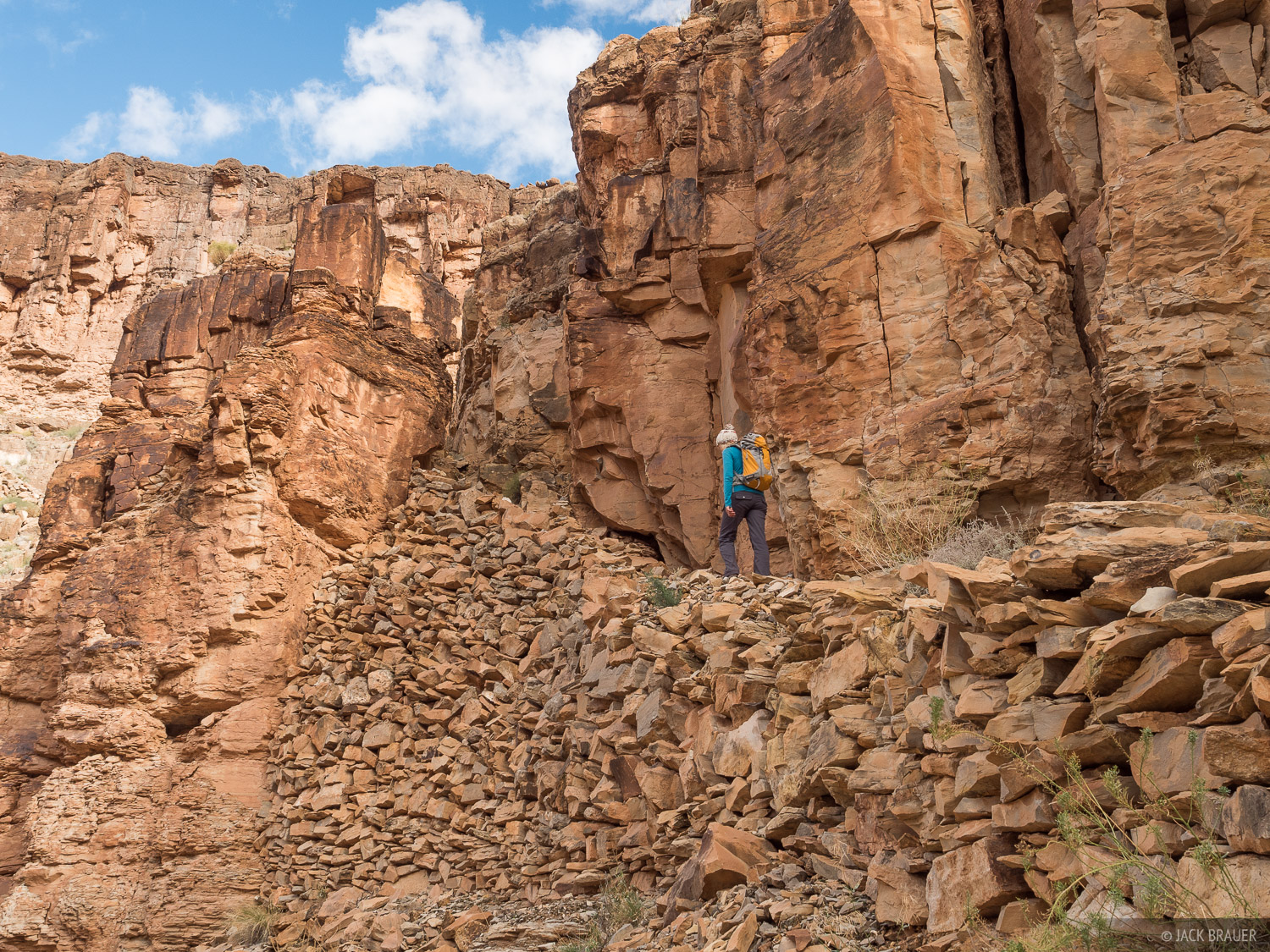Meticulously stacked rocks provide a ramp to bypass an otherwise impassible cliff band along the Honaker Trail.