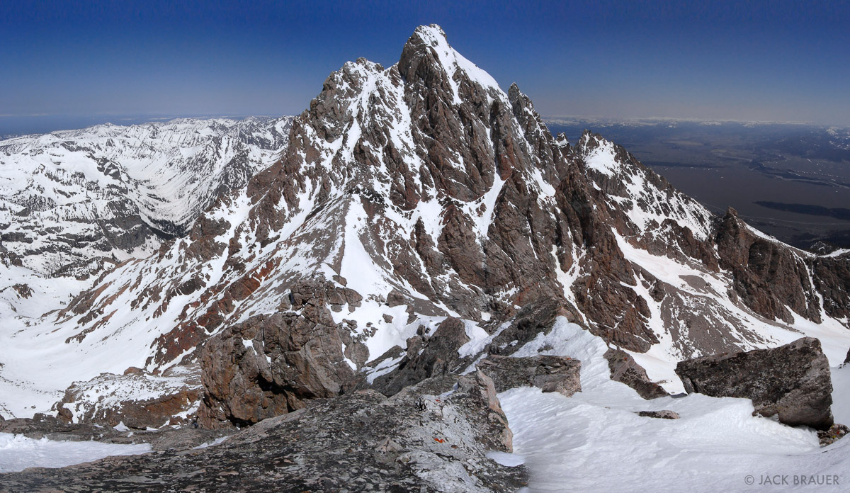 Awesome view of the southern side of the Grand Teton, as seen from the summit of the Middle Teton - May.