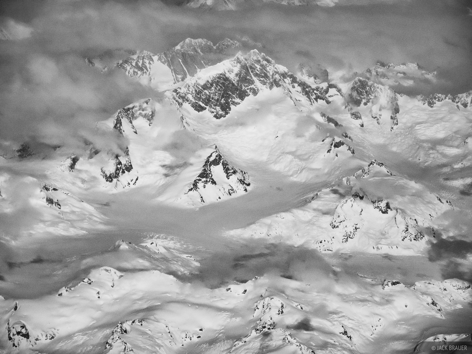 Aerial view of Mount Waddington, at 13,186 ft. the highest mountain in the Coastal Range.