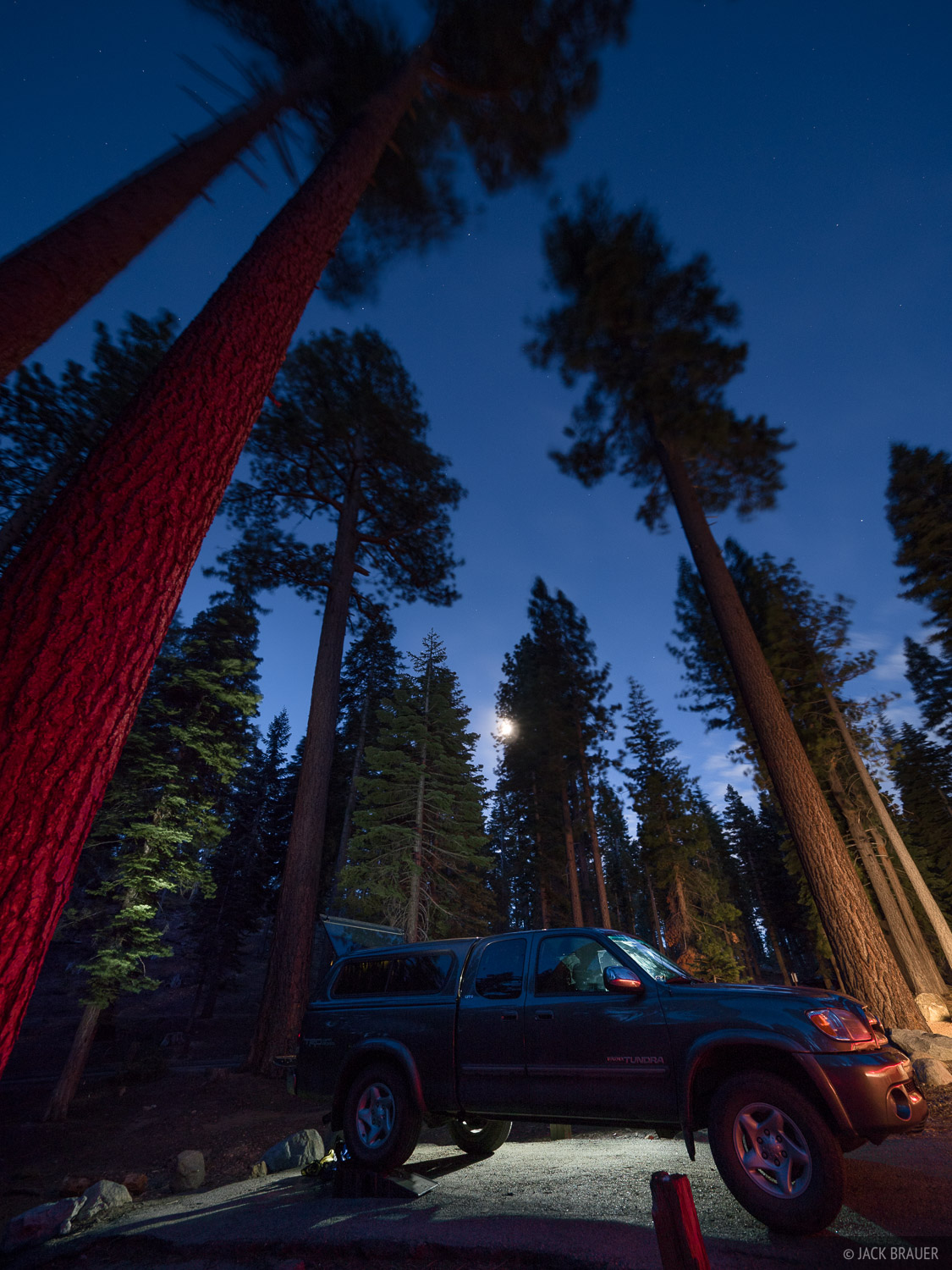 A windy night at the Bayview Campground along the south shore of Lake Tahoe, California. The big pines were swaying so much in...