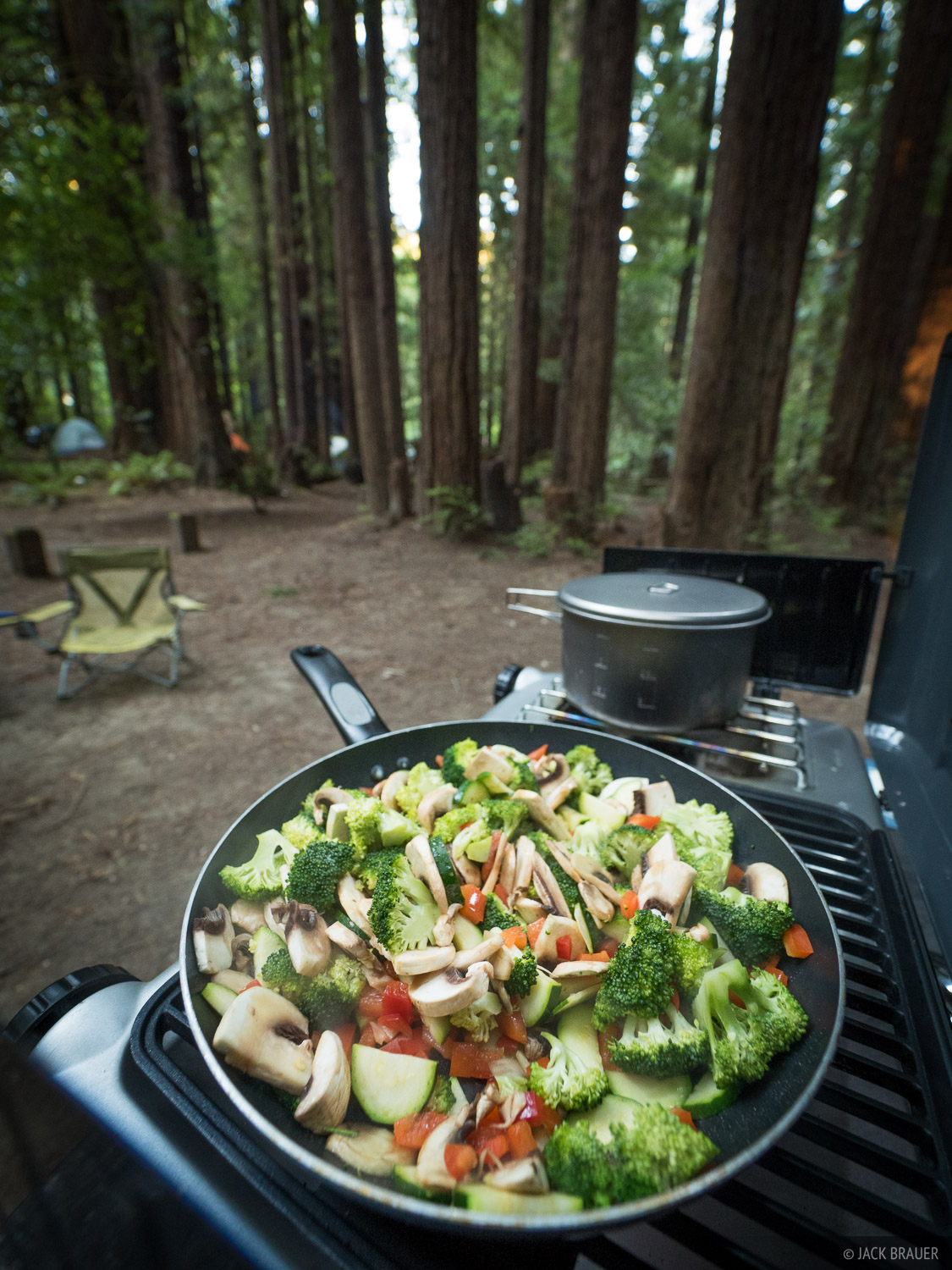 Sautéed veggies at Humboldt State Park campground, while visiting the amazing Redwoods in northern California.