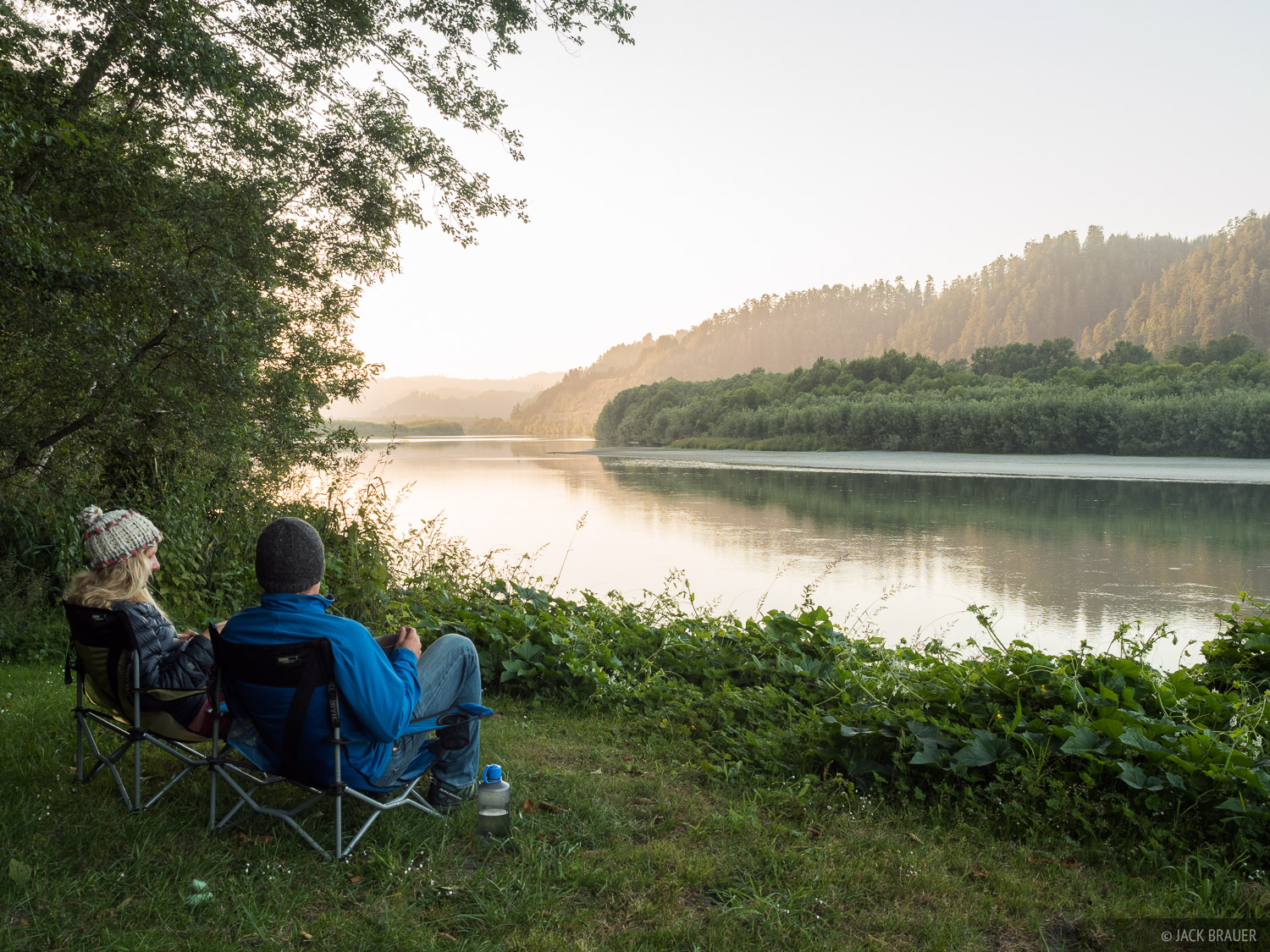 Our campsite at a tranquil RV park along the Klamath River in northern California.
