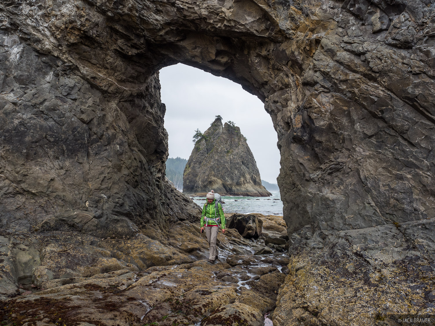 Hiking through the Hole in the Wall north from Rialto Beach.
