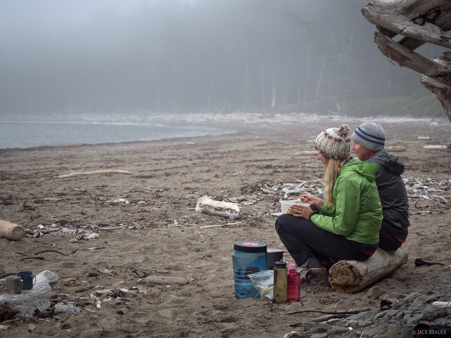 Dinner at Sand Point campsite.