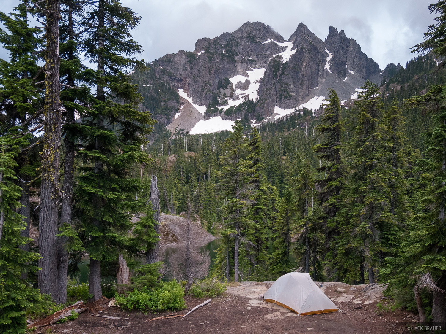 Our first evening of our 5-day trek in the Alpine Lakes Wilderness of central Washington, camped at Spectacle Lake.