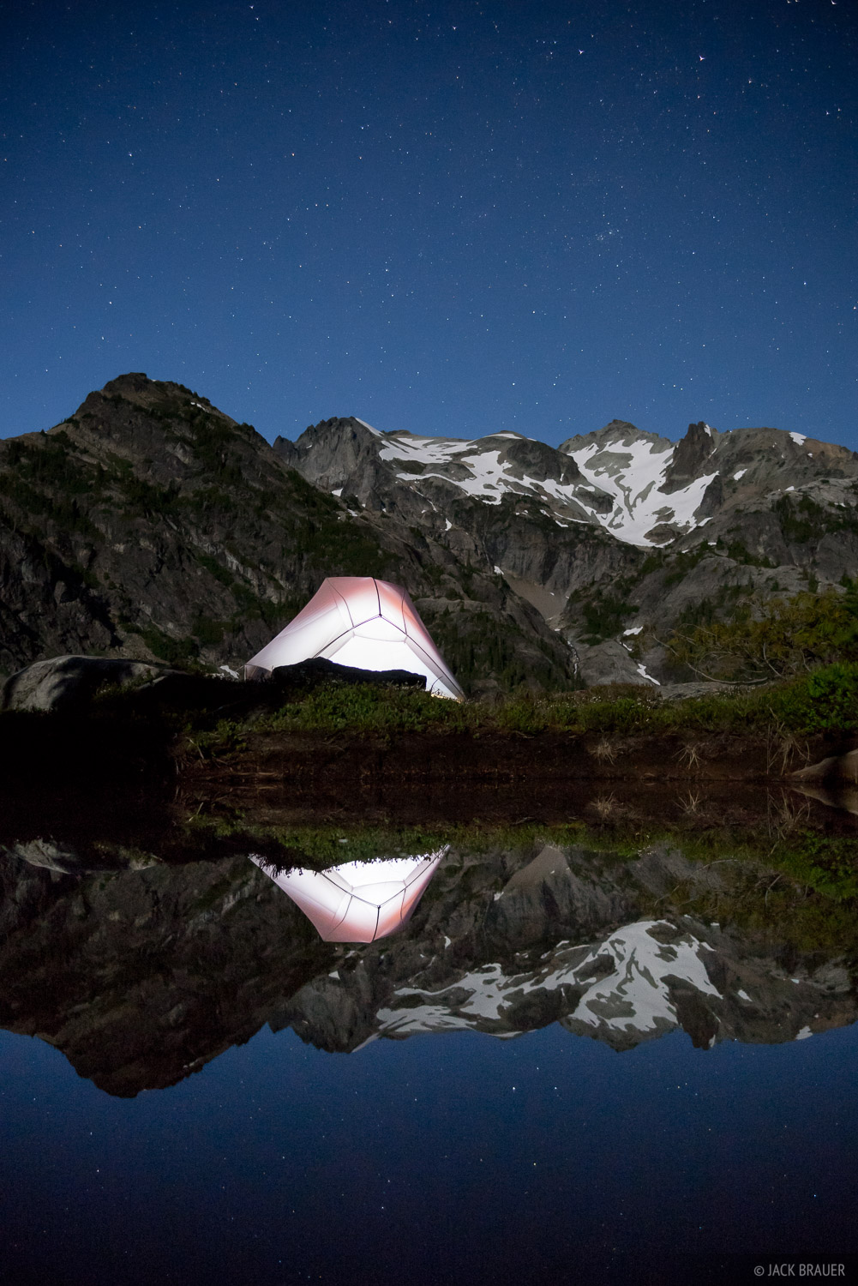 Alpine Lakes Wilderness, Mount Daniel, Spade Lake, Washington, moonlight, tent, Cascades