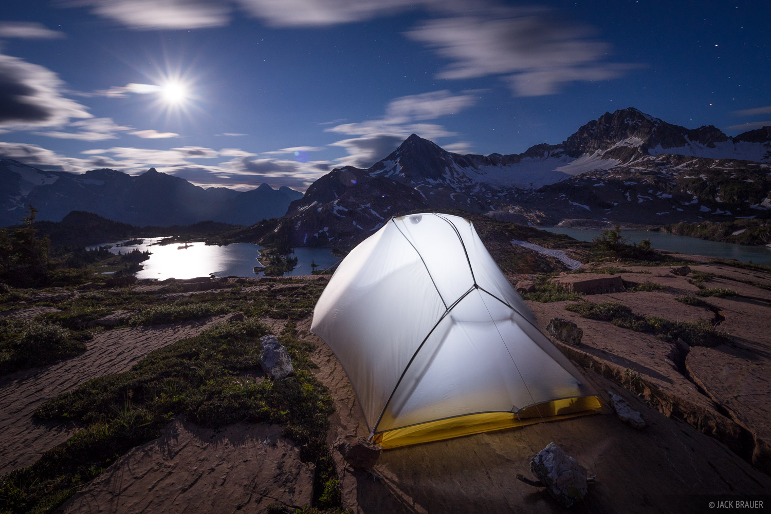 British Columbia, Canada, Canadian Rockies, Height of the Rockies, Limestone Lakes, moonlight, tent, BC, photo