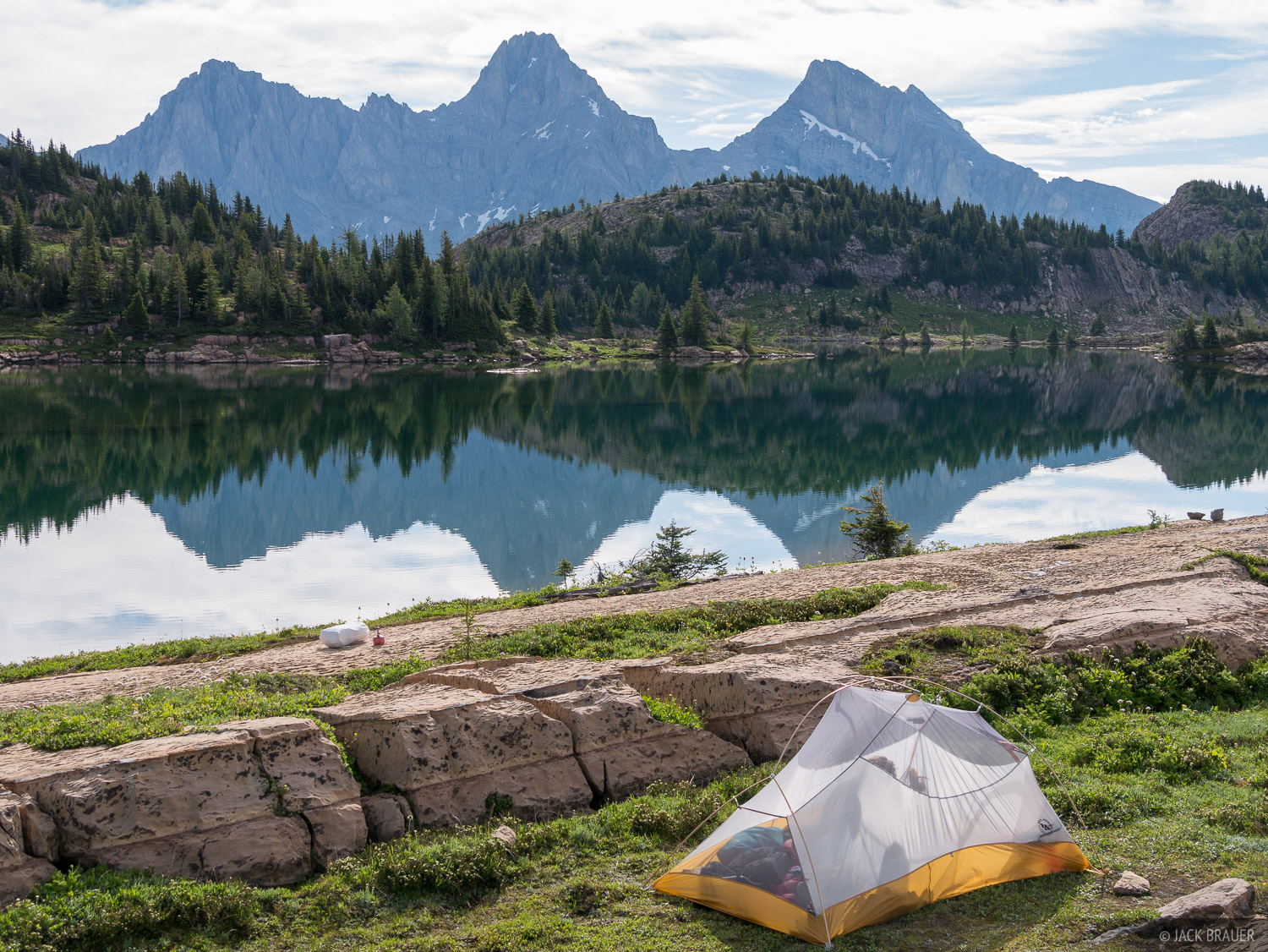 For our second night in the Height of the Rockies Provincial Park, we moved our tent down to the lake where we camped on an isthmus...