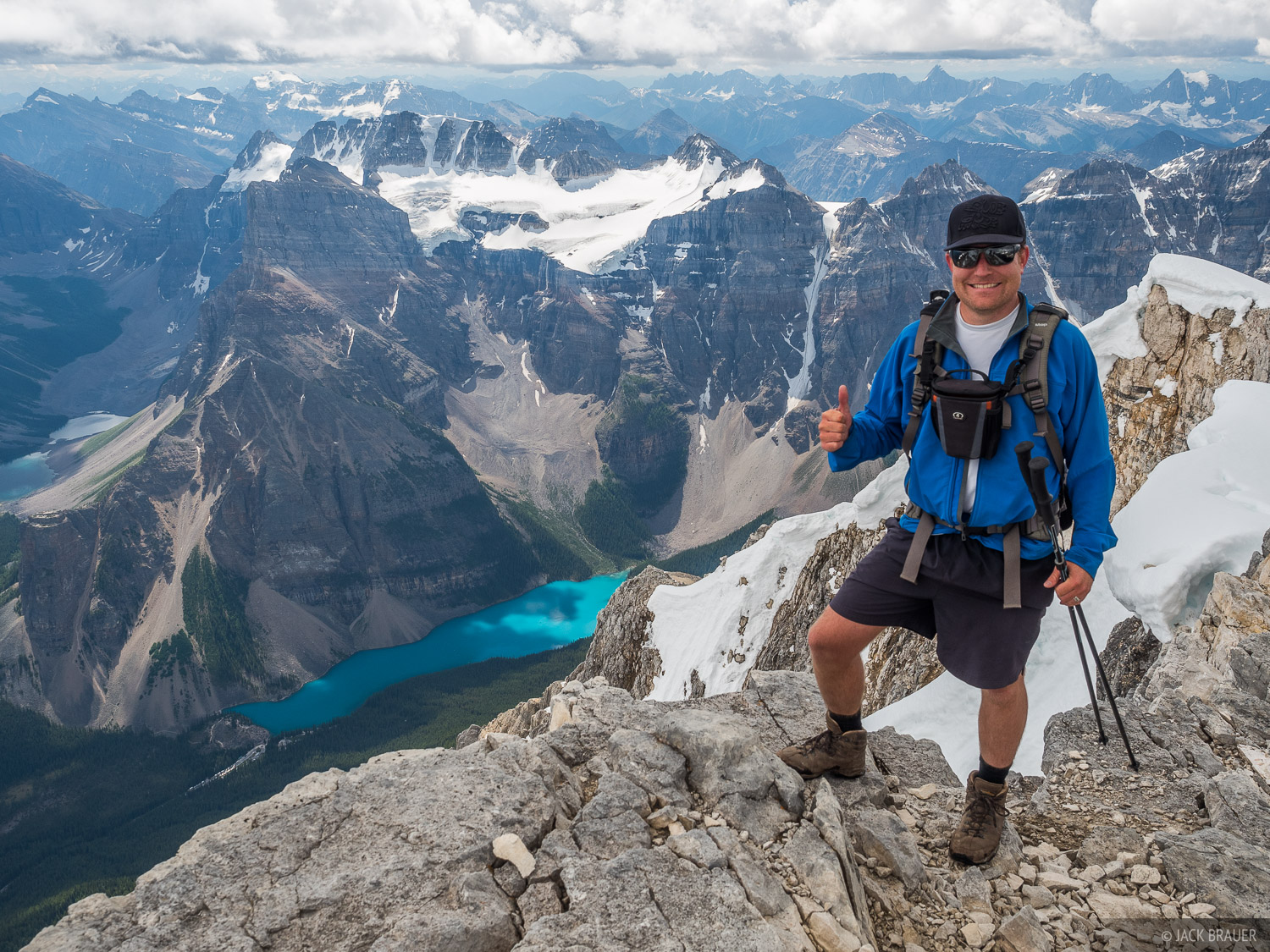 Here I am, stoked to finally reach the summit of Mount Temple after a 5,344 vertical foot hike and scramble from Moraine Lake...