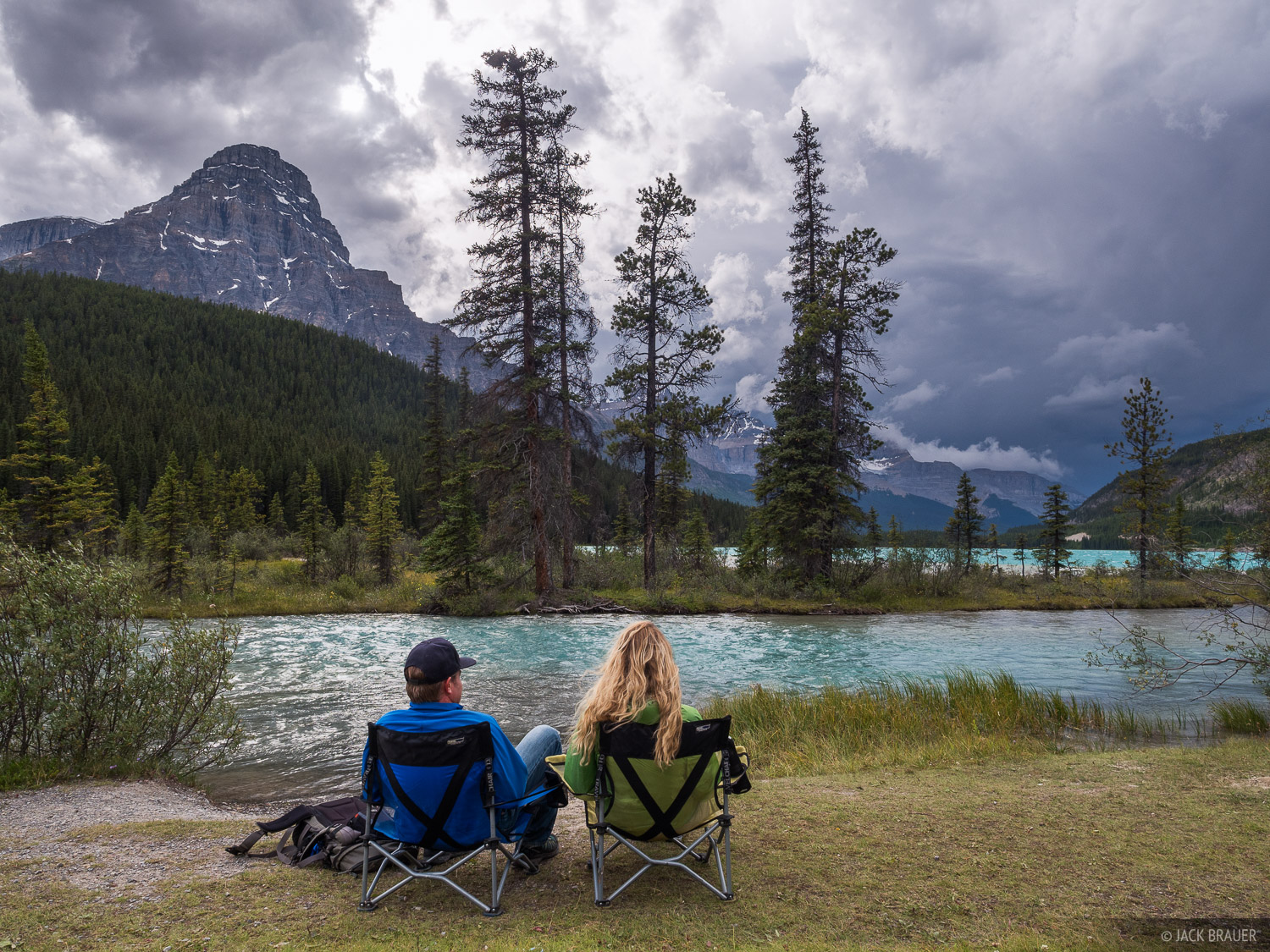 Hanging out at Waterfowl Lakes as an ominous storm blows in.