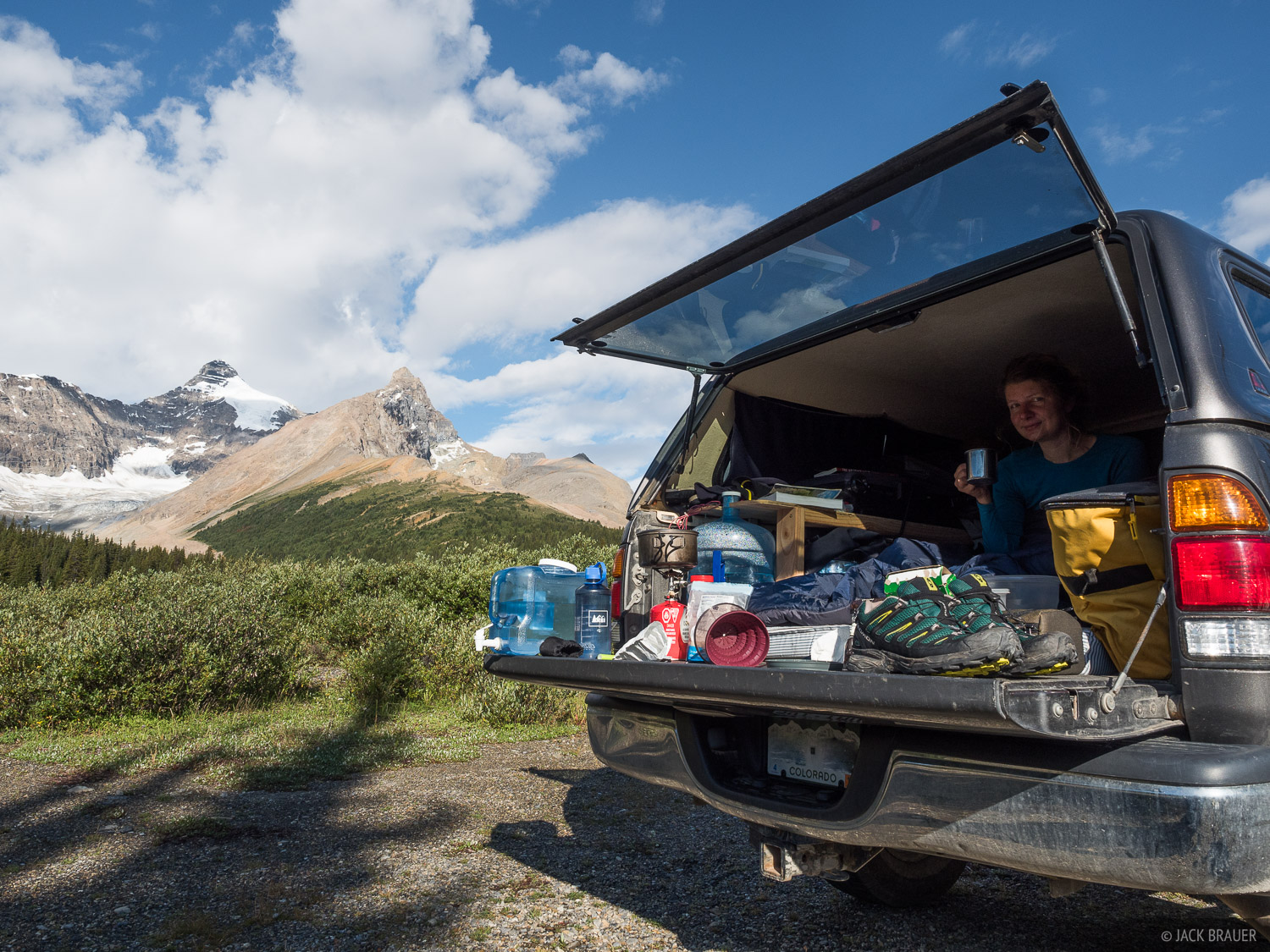 Camping in the truck up at Sunwapta Pass, right on the border between Banff and Jasper National Parks. Mount Athabasca is behind...