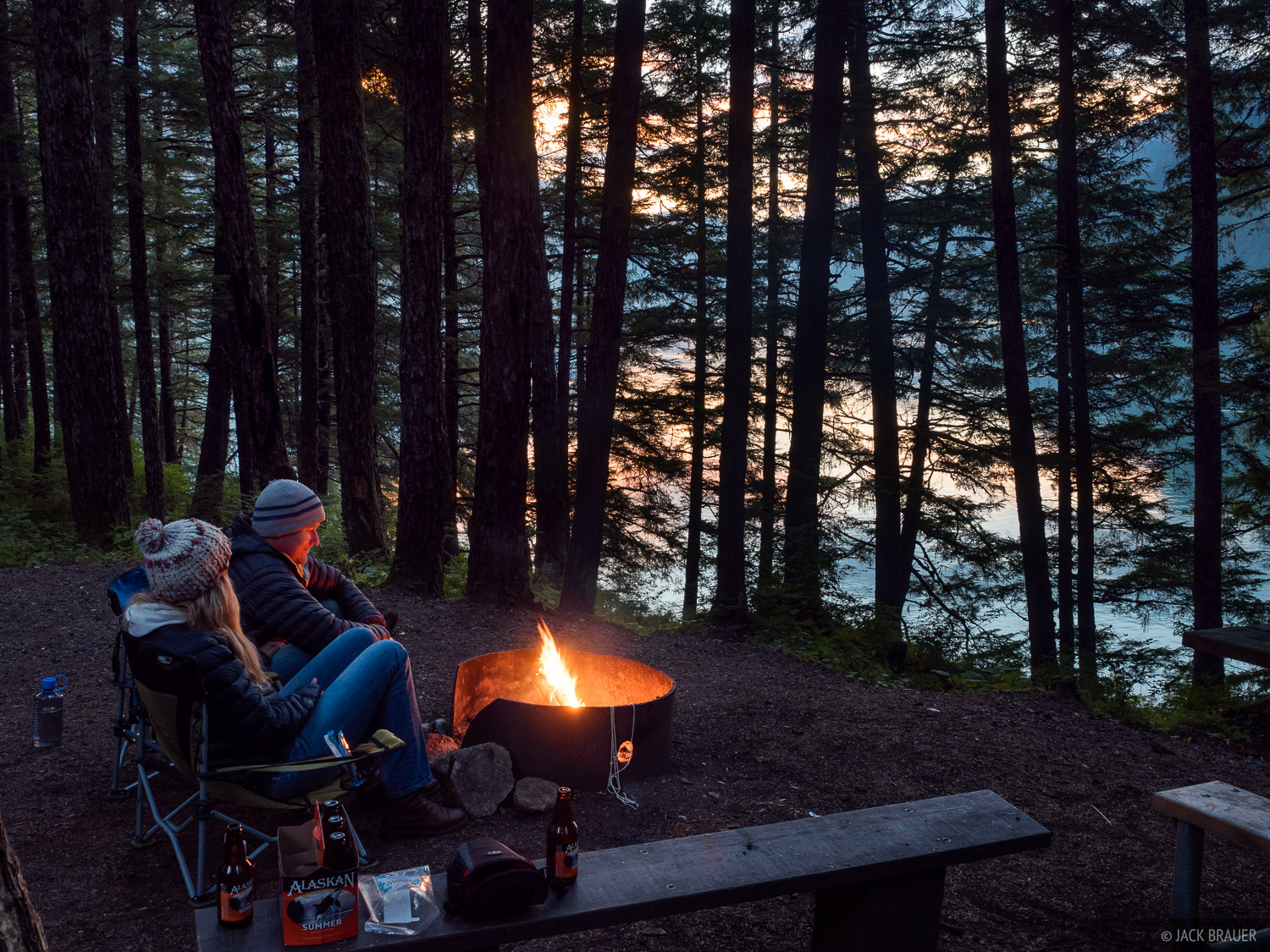 Alaska, Chilkoot Lake, Haines, campfire, photo