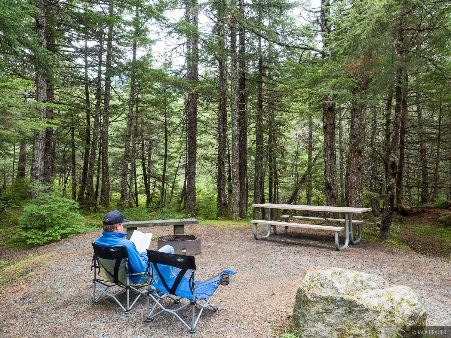 Campsite at the Chilkoot Lake campground near Haines, Alaska.