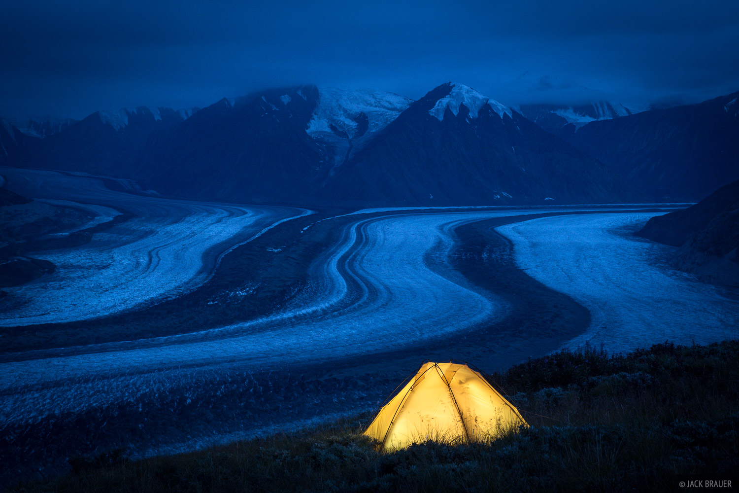 """Cozy tent above the cold Kaskawulsh Glacier. Just for the record, we practiced our best """"leave no trace"""" camping methods here..."""