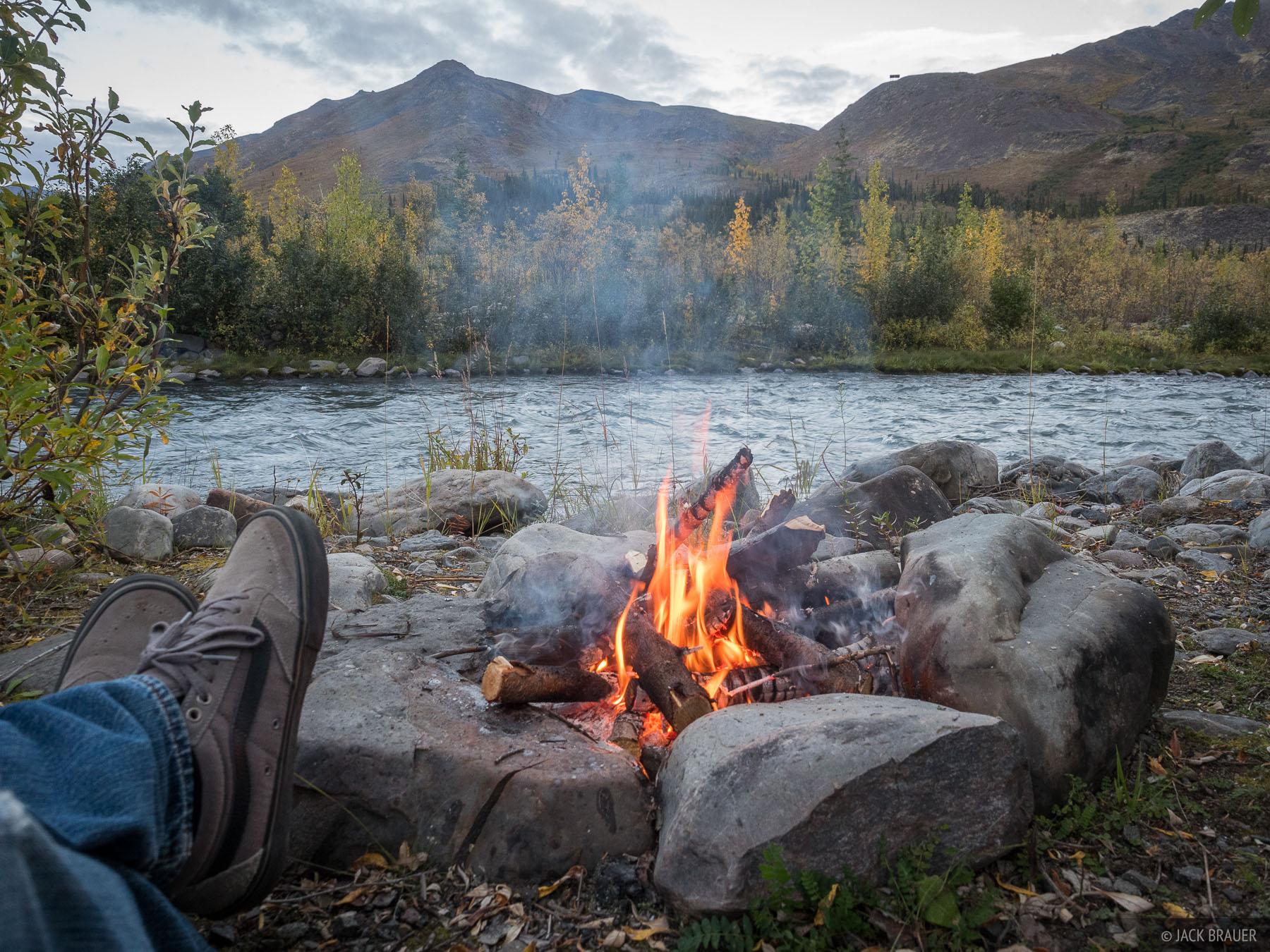 A campfire along the North Klondike River.