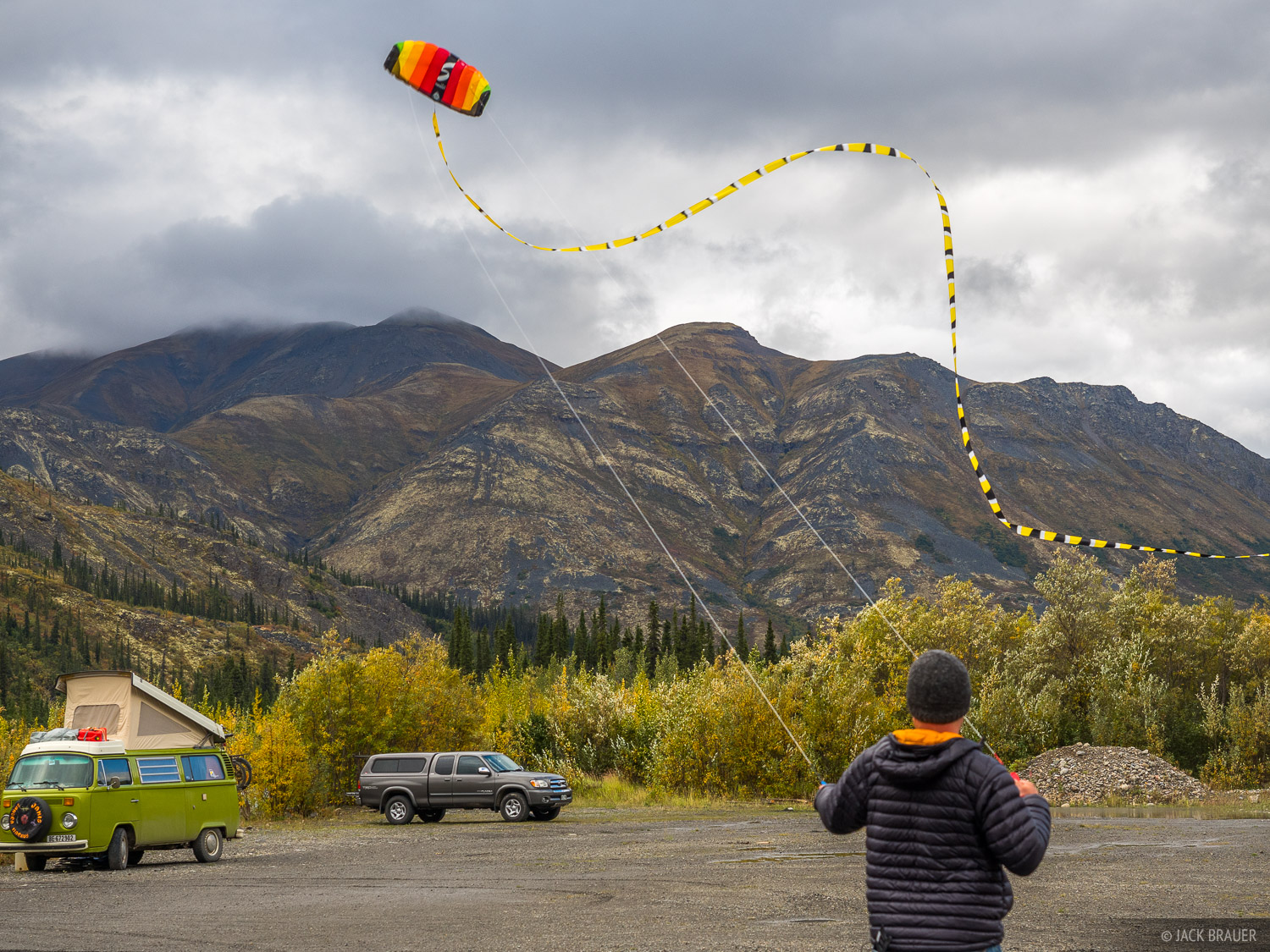 Flying the kite near the North Klondike River, just killing some time before our 7-day backpack trek in the Tombstone Range...