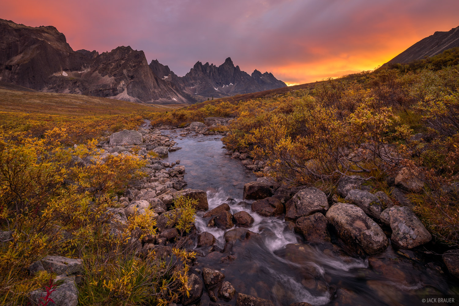 Sunset above the Tombstone River and Tombstone Peak. Hats off to James Studarus who encouraged me to go check out this creek!