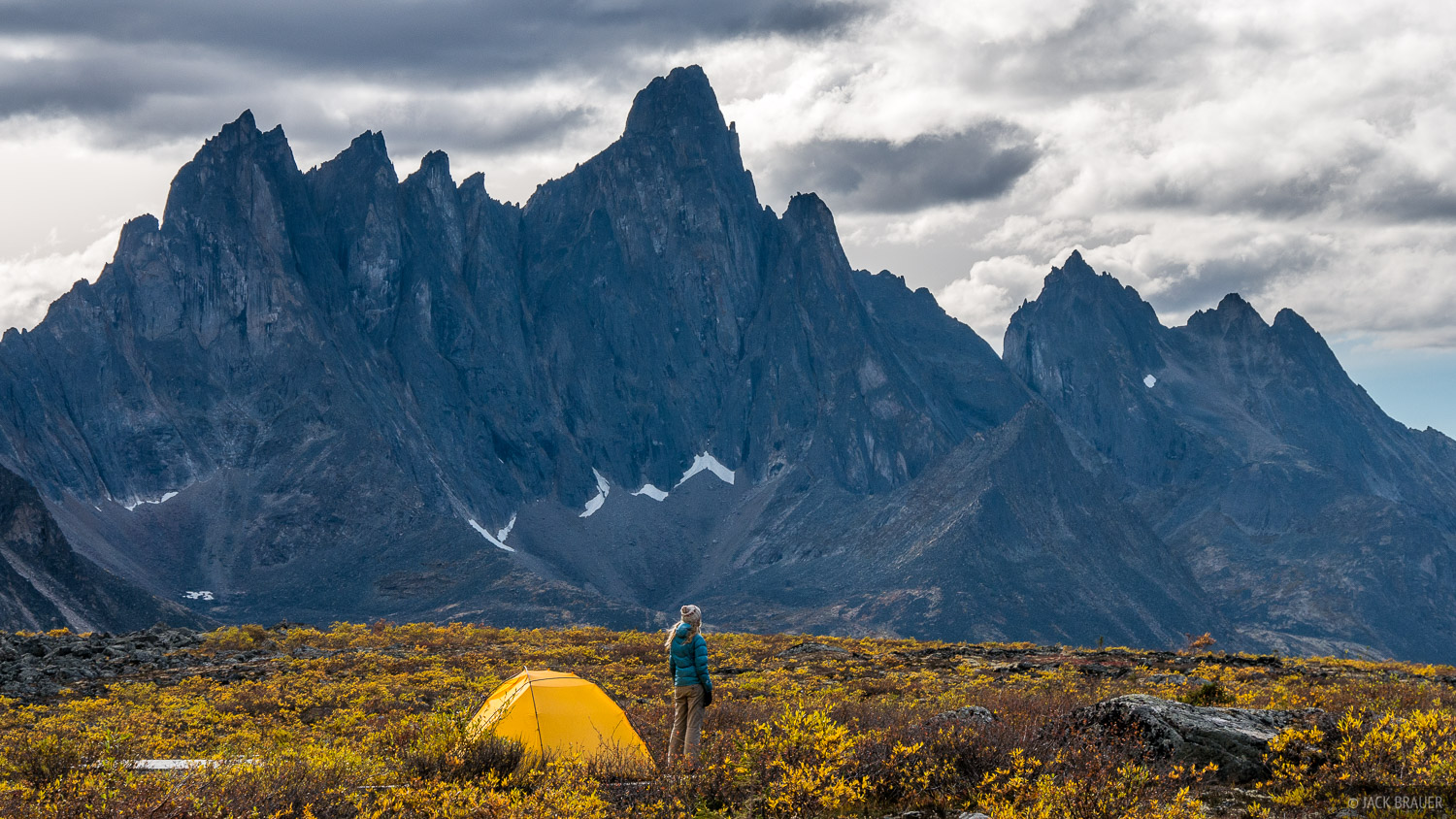 Another view of our tent at Talus Lake, looking towards Tombstone Mountain, the namesake peak of the range.