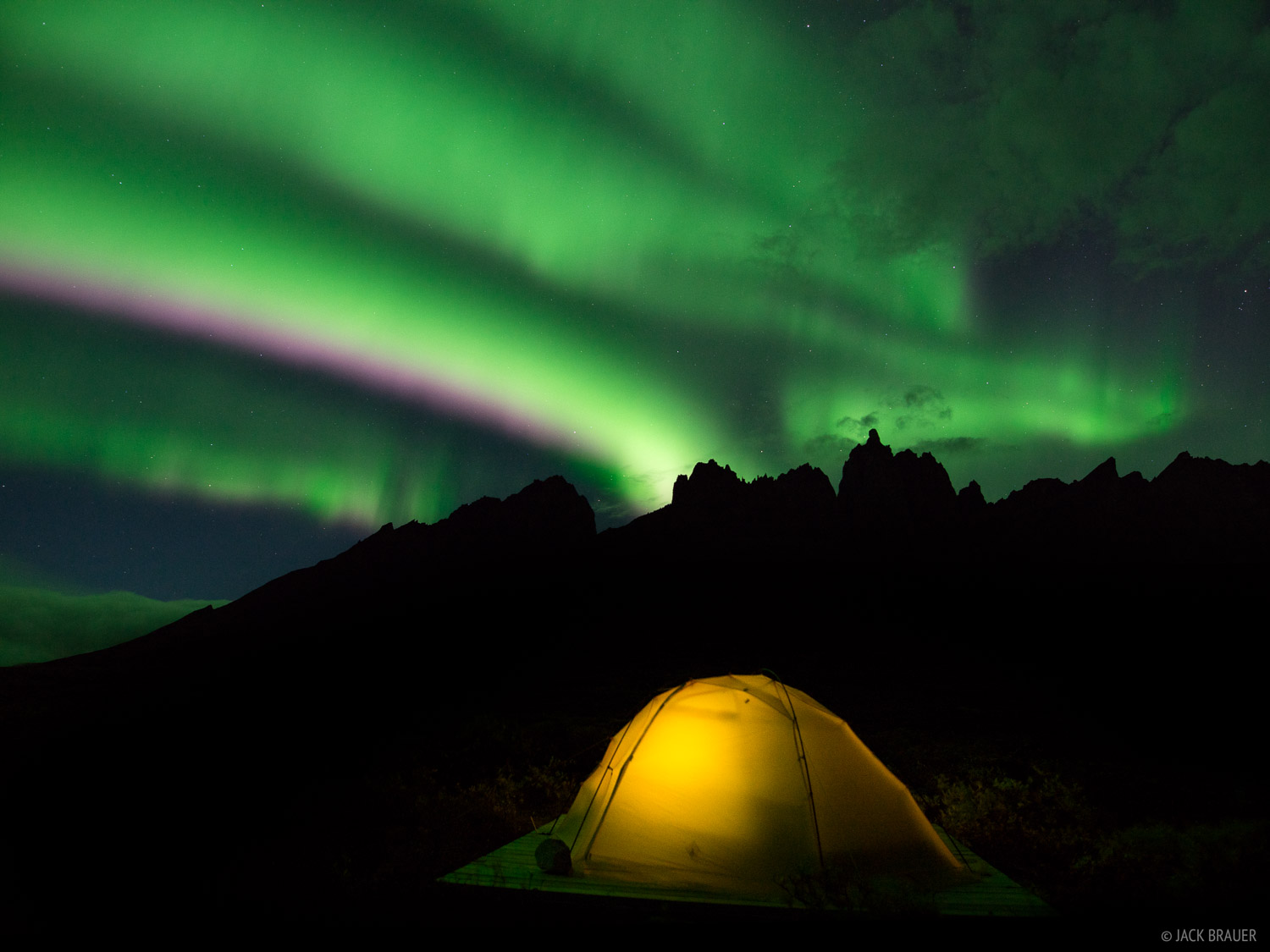 Canada, Mount Monolith, Talus Lake, Tombstone Territorial Park, Yukon, aurora, tent, photo