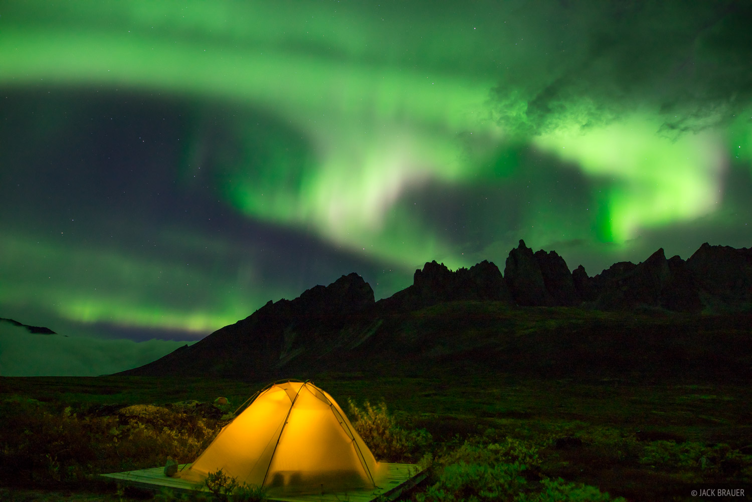 Northern lights above our tent and Mount Monolith (7103 ft. / 2165m).
