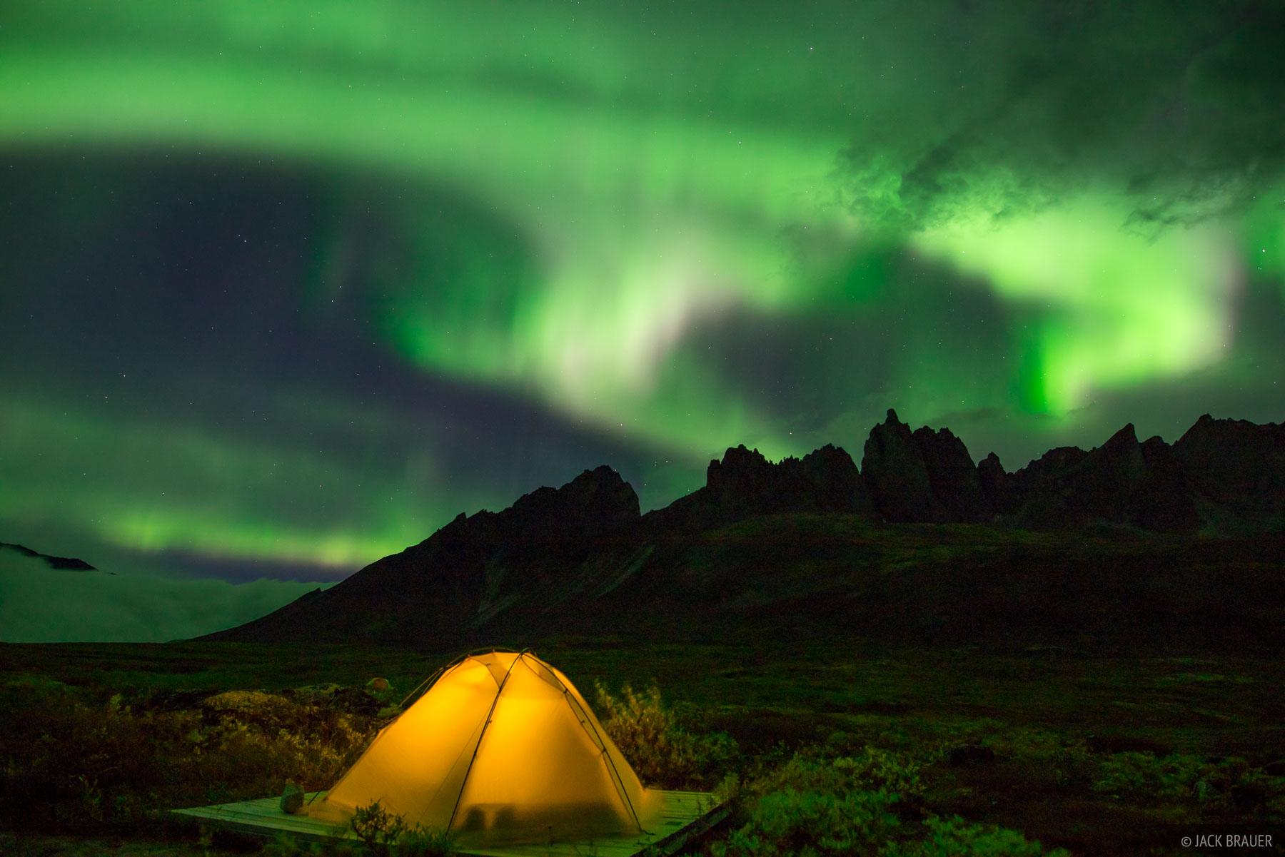 Canada, Mount Monolith, Talus Lake, Tombstone Territorial Park, Yukon, aurora, tent, northern lights, Tombstone Range, photo