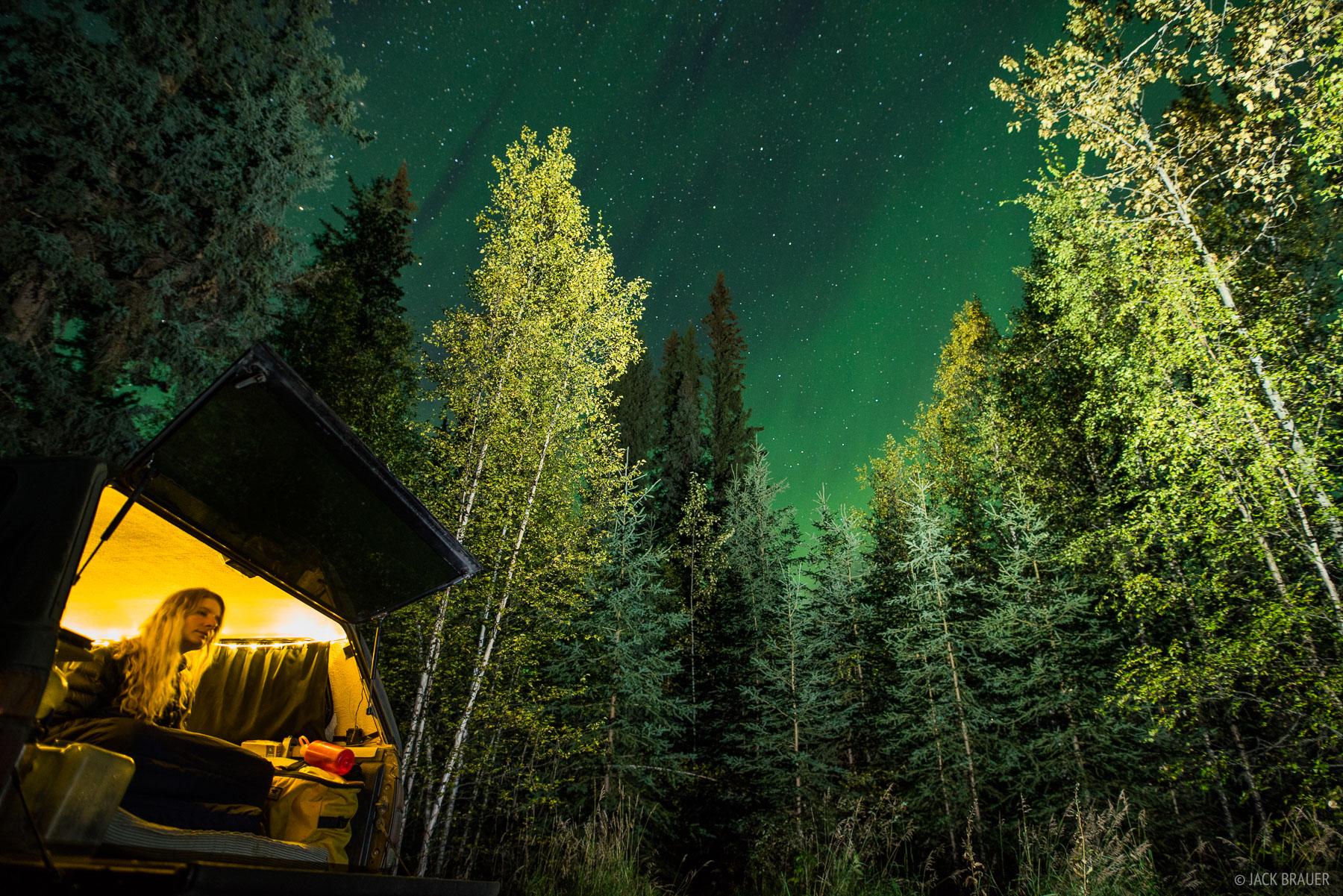 Canada, Dawson, Yukon, aurora, truck, photo