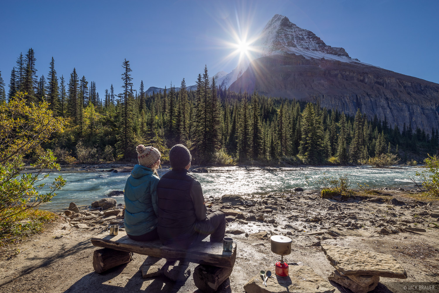 "Our campsite ""patio"" at the Emperor Falls campsite with Mount Robson towering above."