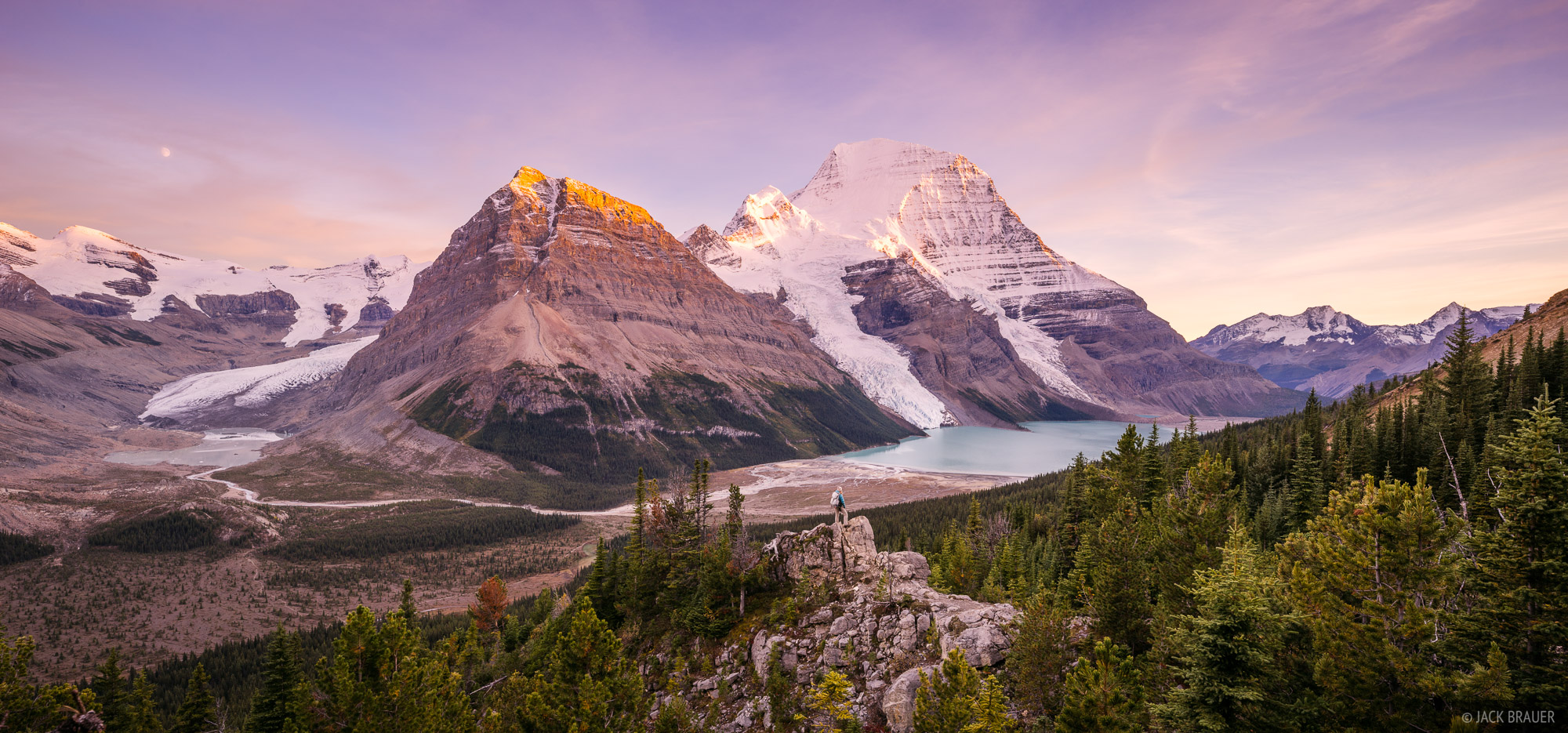 Sunset view of Berg Lake, Mount Robson (right) and Rearguard Mountain (left). The Robson Glacier is visible in the left valley...