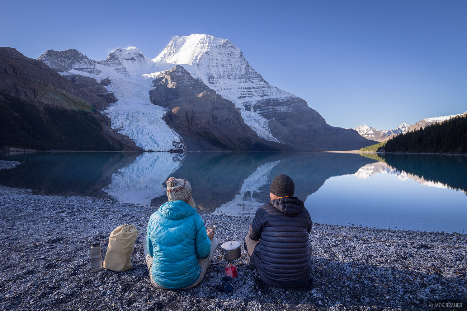 A pleasant place for our morning coffee. Occasionally during the nights at Berg Lake we'd hear the loud rumbling of the Berg...