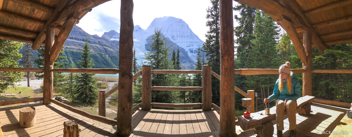 Berg Lake, British Columbia, Canada, Mount Robson Provincial Park, BC, cabin, panorama, photo