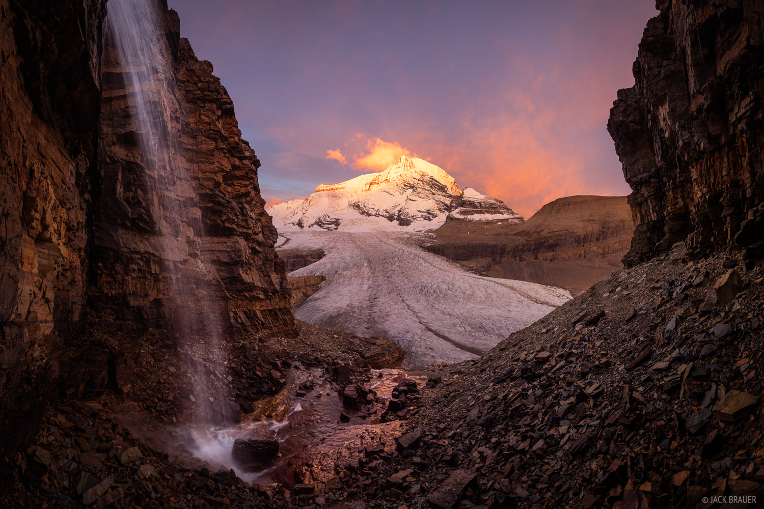 British Columbia, Canada, Mount Robson Provincial Park, Robson Glacier, BC, sunrise, waterfall, photo