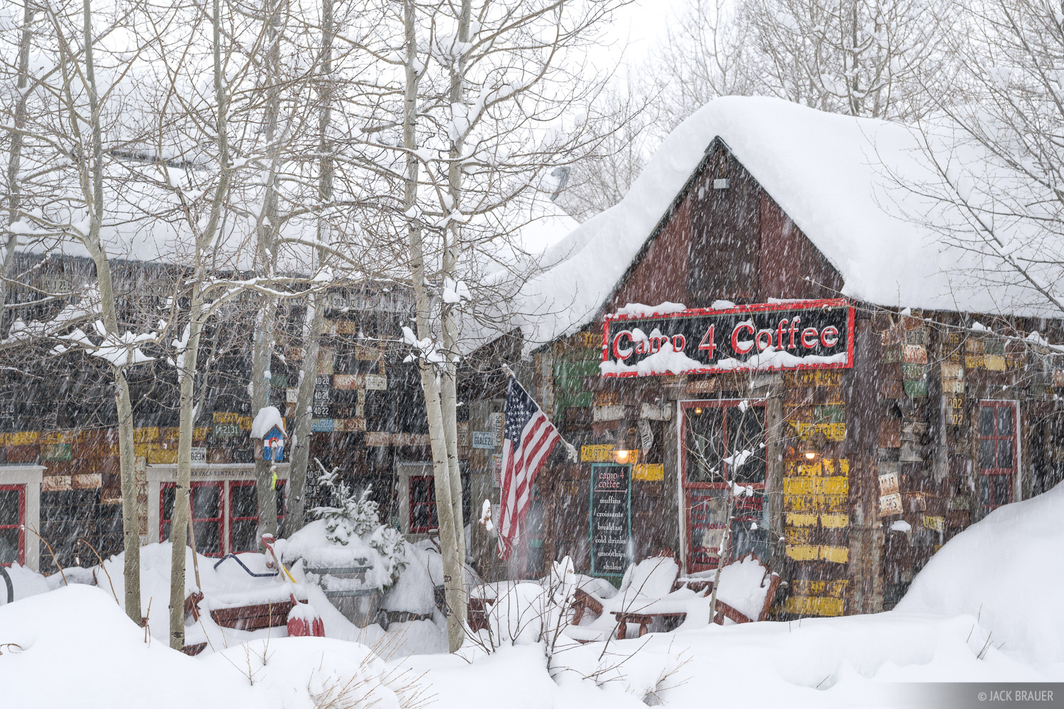 Colorado, Crested Butte, Camp 4 Coffee, snow, snowy, January, photo