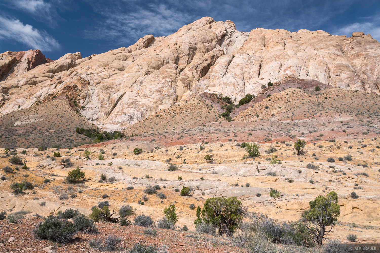Looking up at the soaring sandstone slabs of the San Rafael Reef, just south of I-70, west of Green River. The sandstone was...
