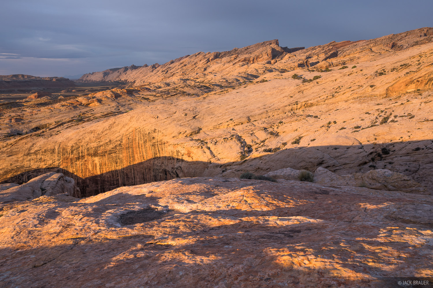 Sunrise light shines on the San Rafael Reef above Black Dragon Wash, just north of I-70.